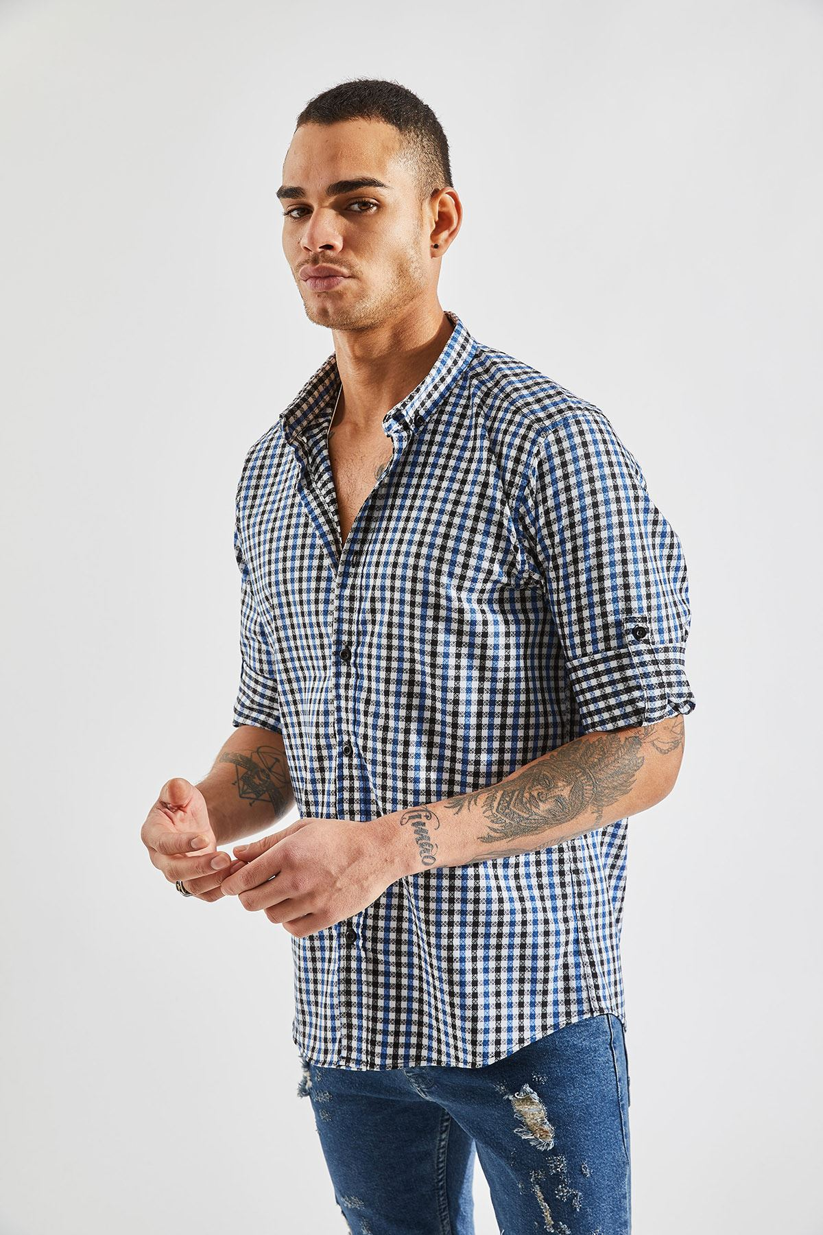 Erkek Kol Apoletli Ekose Lacivert Gömlek
