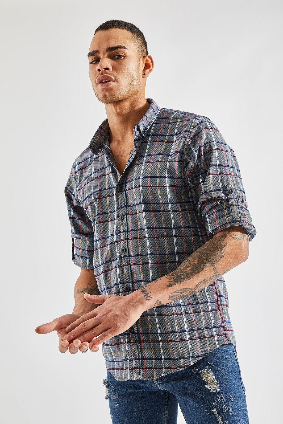 Erkek Kol Apoletli Ekose İndigo Gömlek