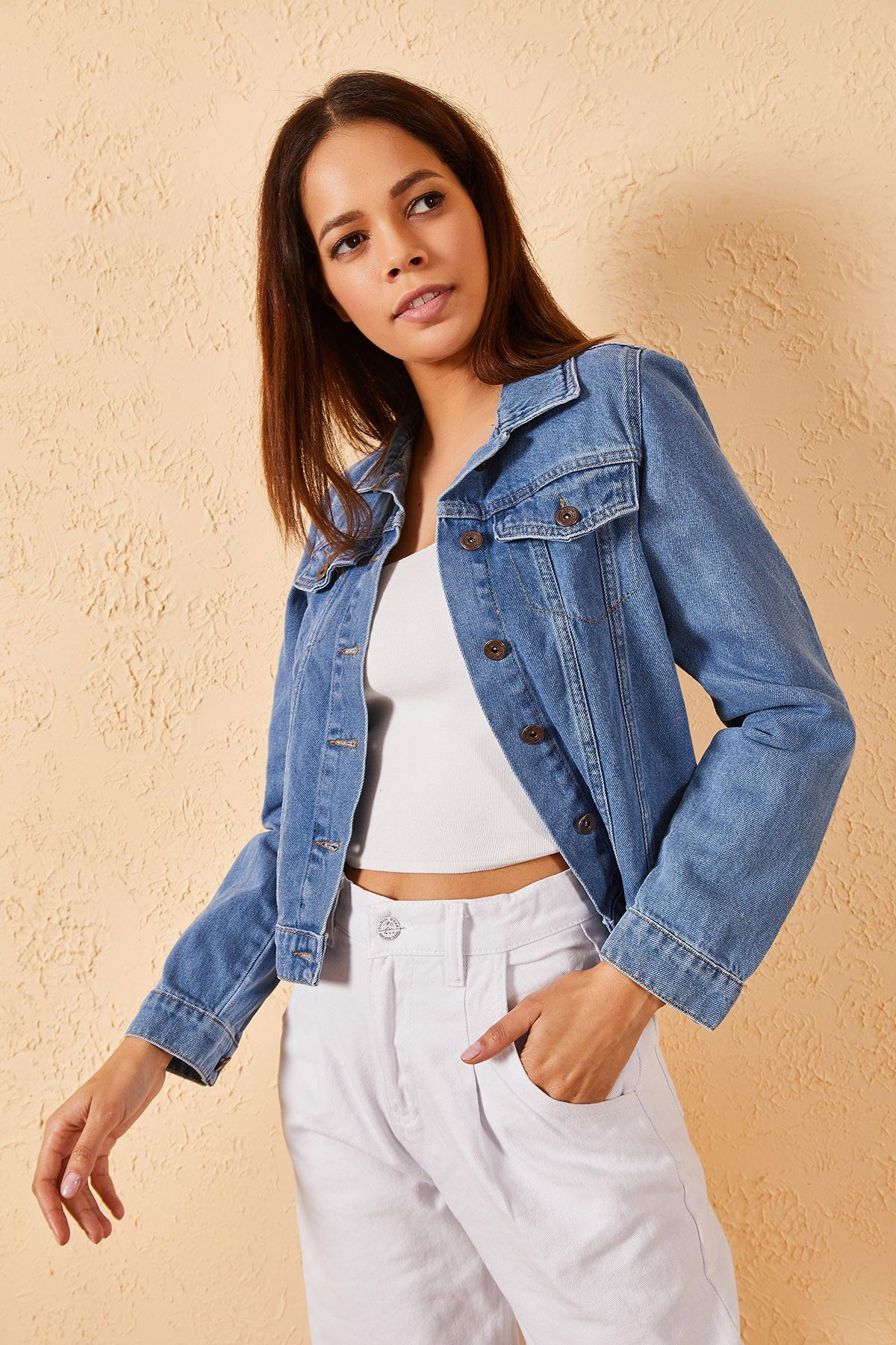 Kadın Slim Kot Ceket