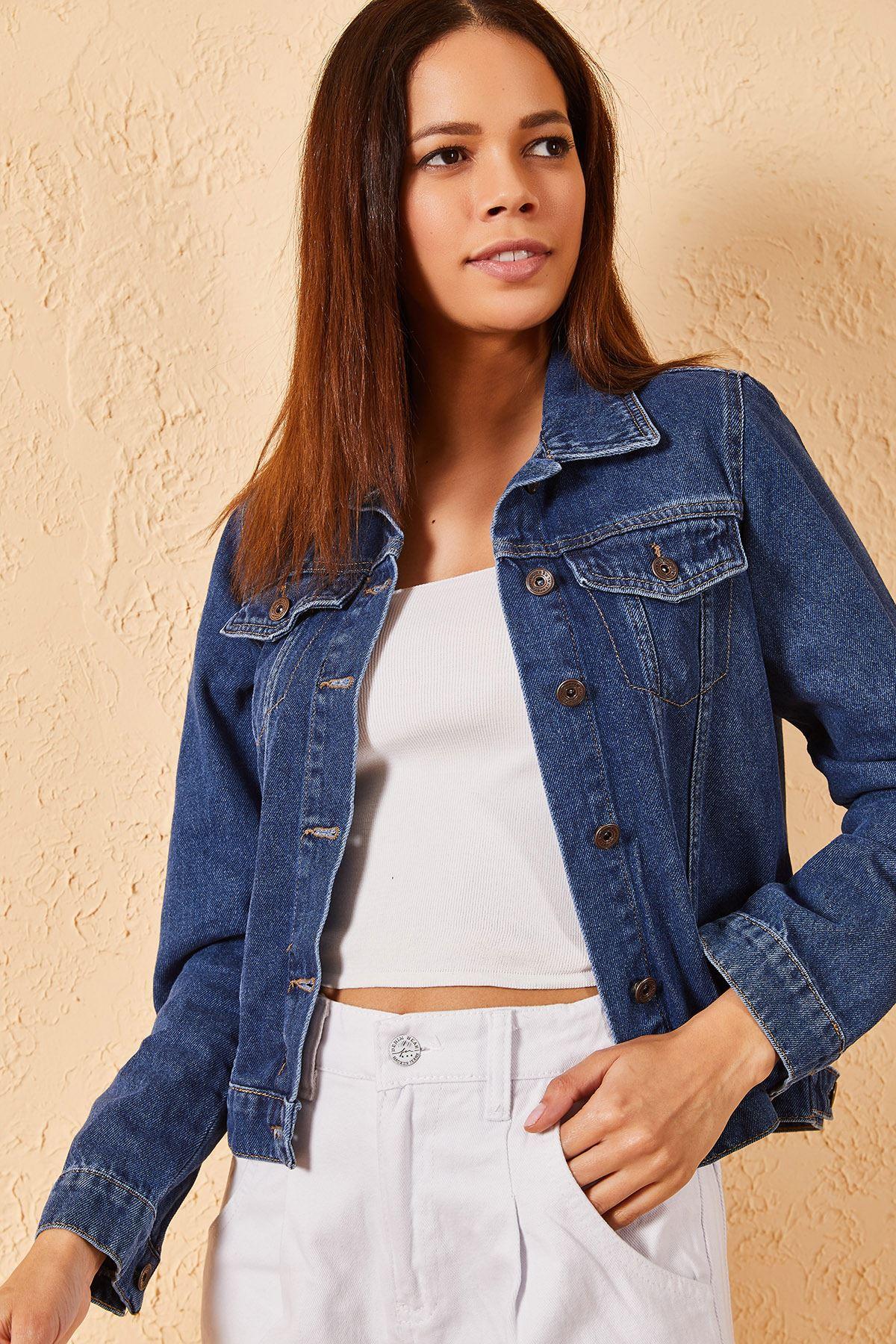 Kadın Slim Koyu Lacivert Kot Ceket