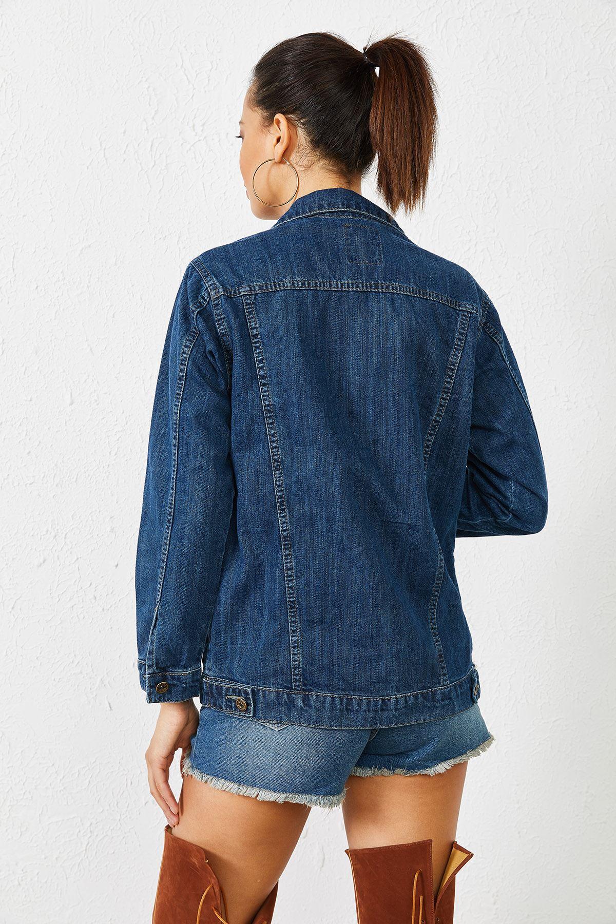 Kadın Enzim Yıkamalı Kot Ceket