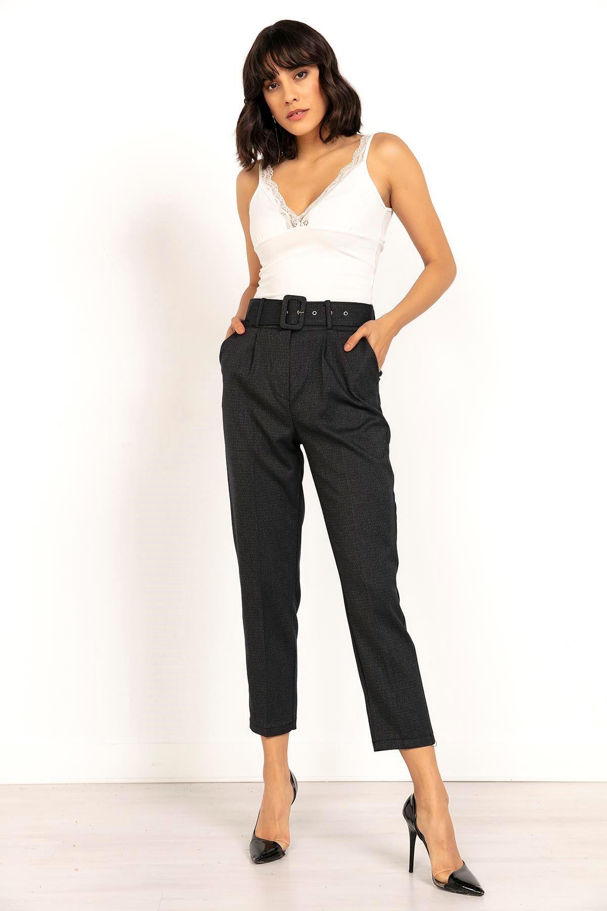 Kaz Ayağı Geniş Kemerli Kadın Pantolon