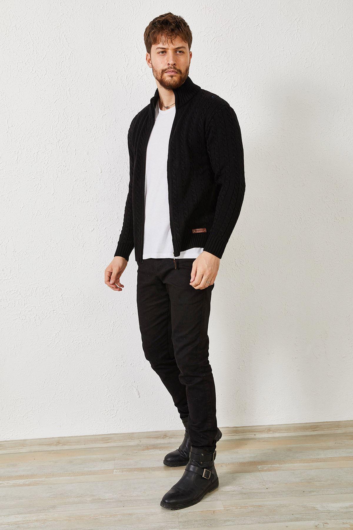 Erkek Saç Örgü Fermuarlı Siyah Hırka