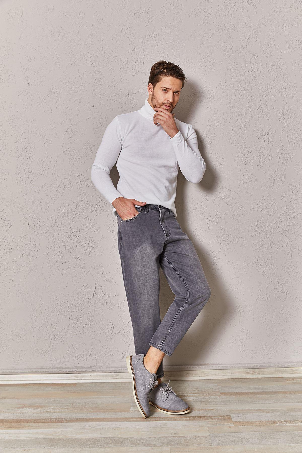 Erkek Slim Gri Kot Pantolon