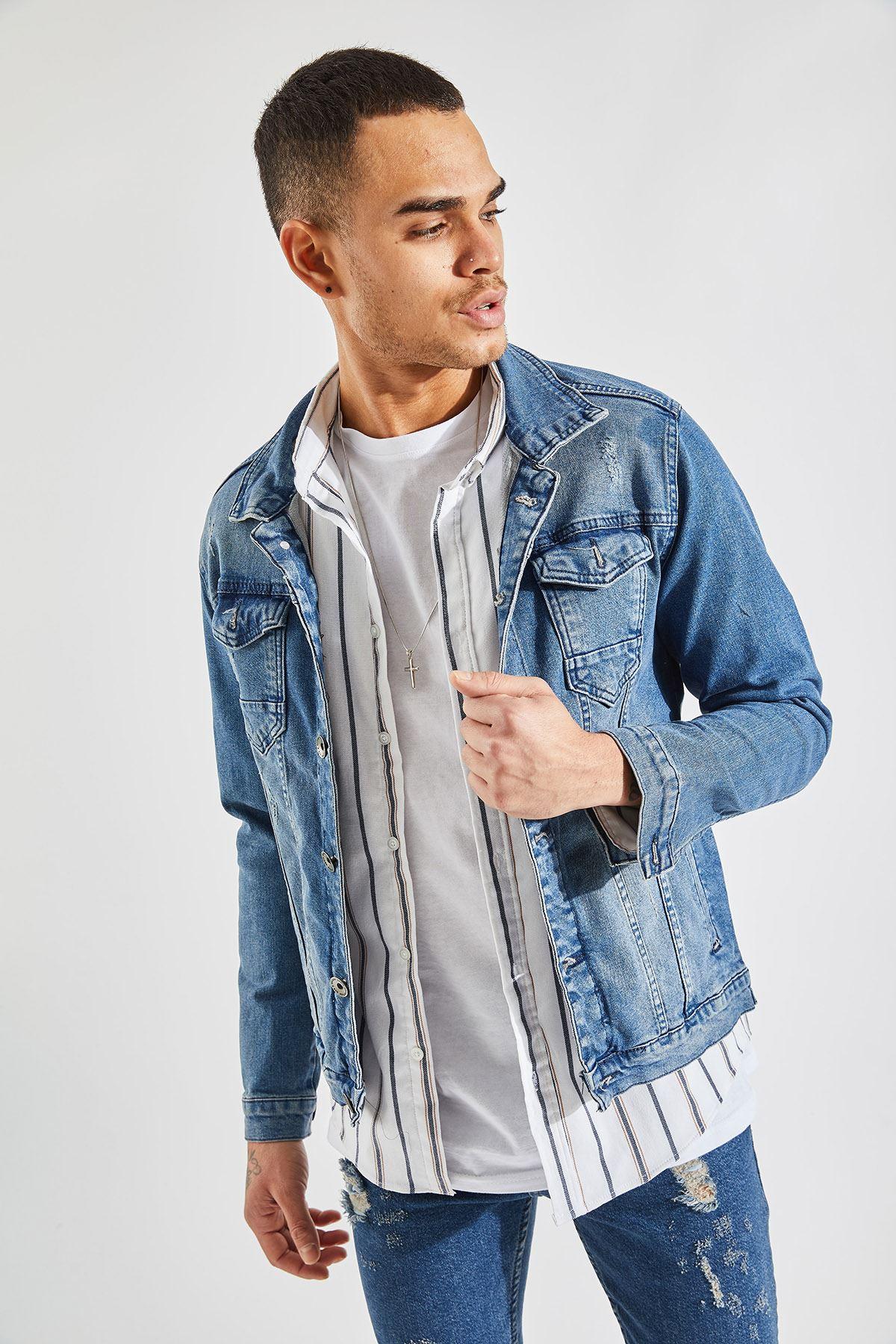 Erkek Slim Lazer Tırnaklı Lacivert Kot Ceket