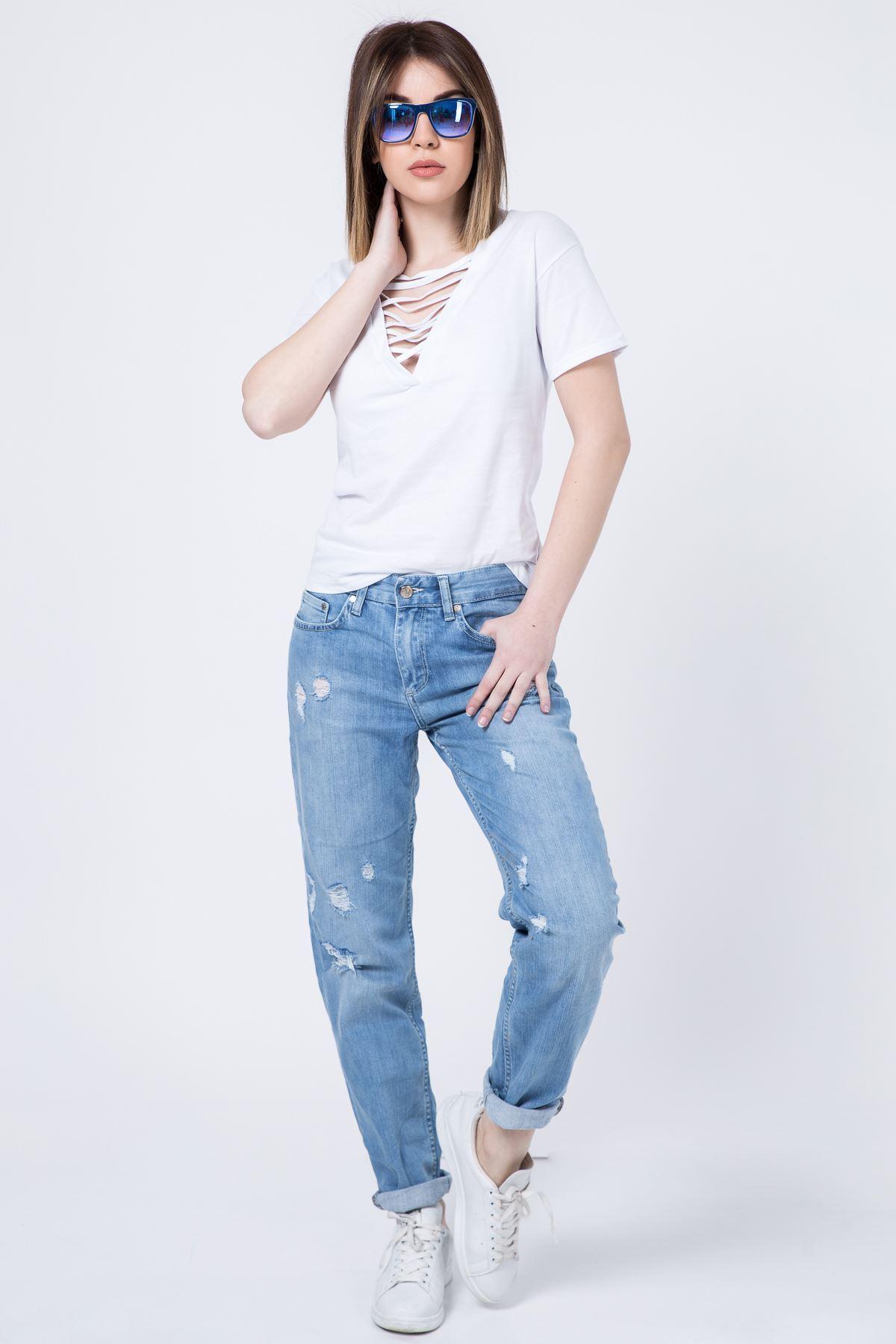 Yırtık Model Bayan Jeans Pantolon