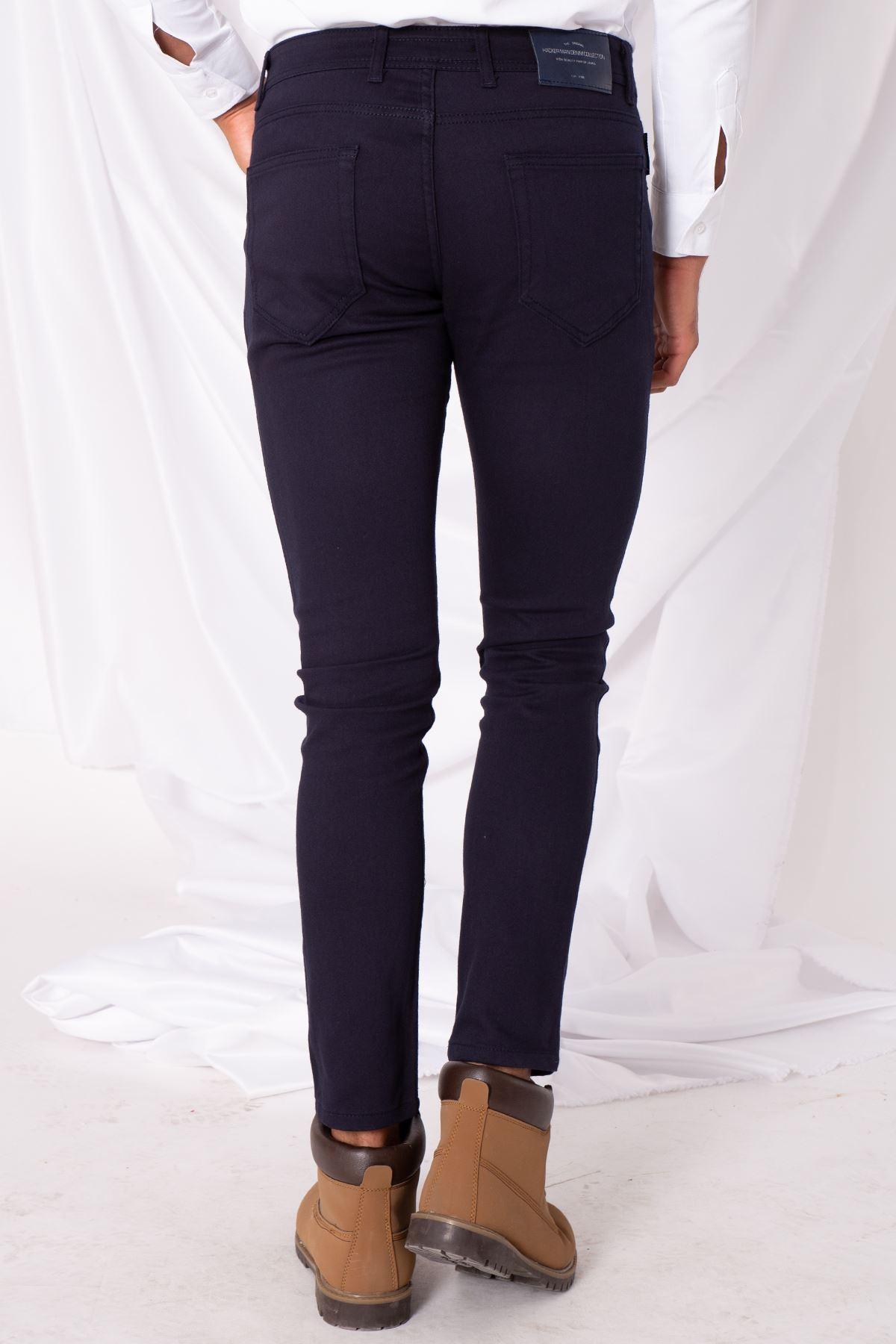 Erkek Likralı Mavi Saten Pantolon