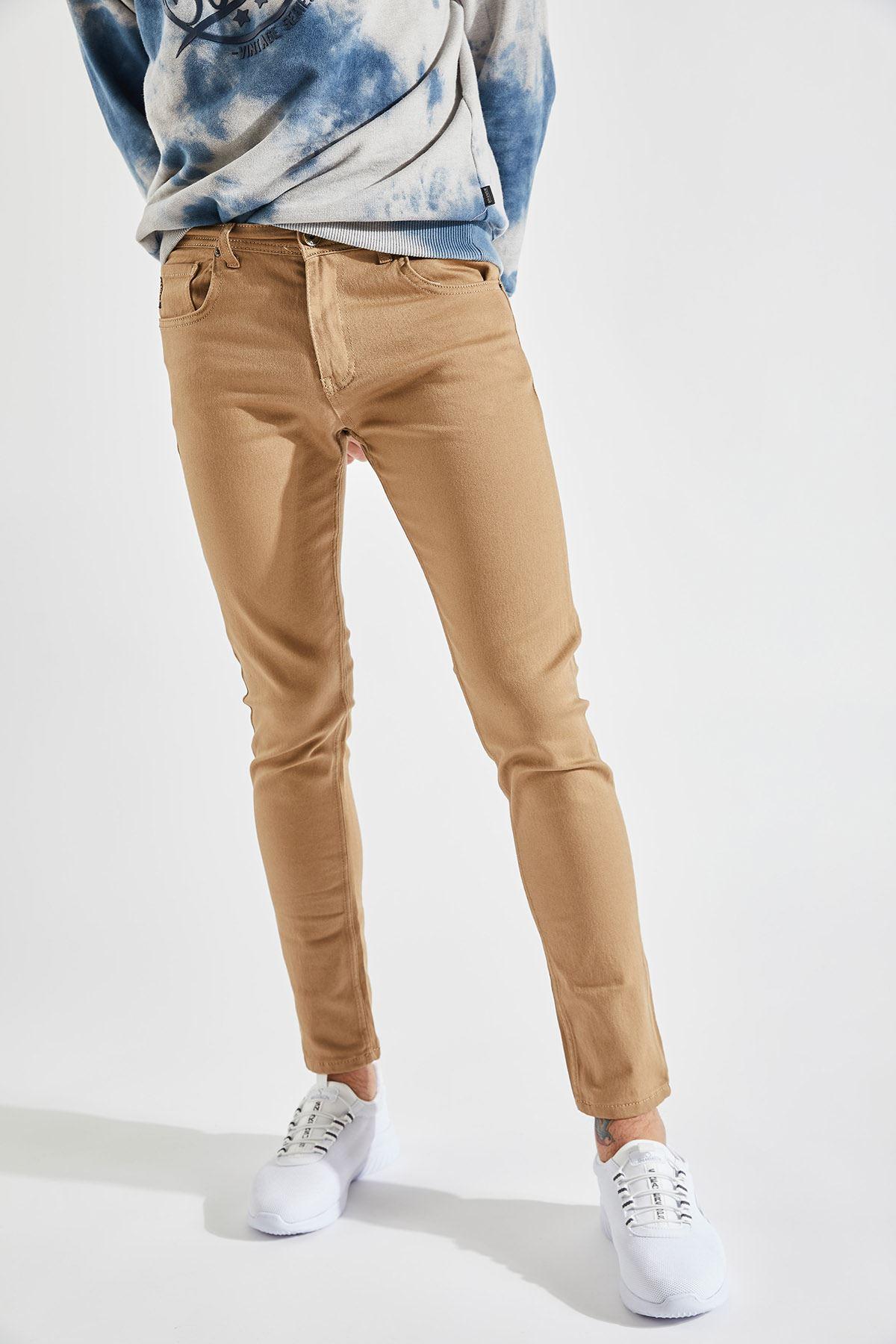 Erkek Slim Likralı Hardal Kot Pantolon