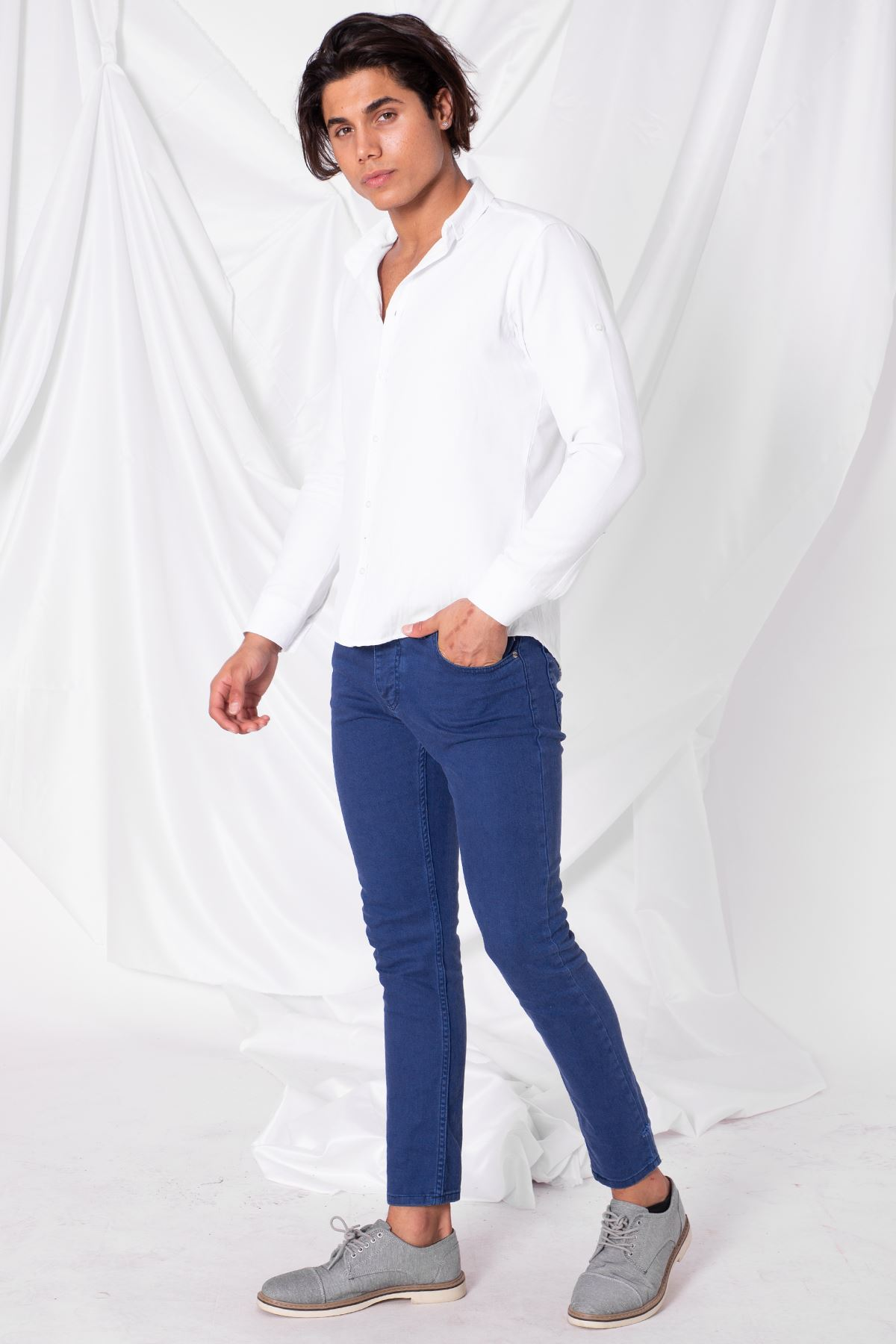 Erkek Likralı Mavi Kot Pantolon