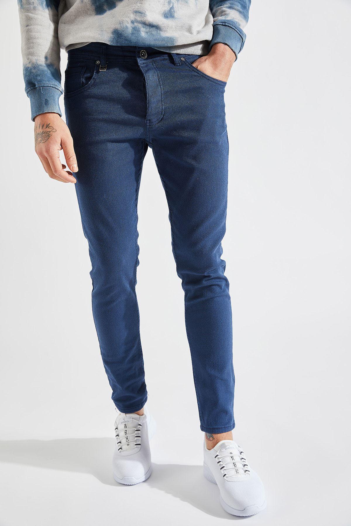 Erkek Slim Likralı Örgü Mavi Pantolon
