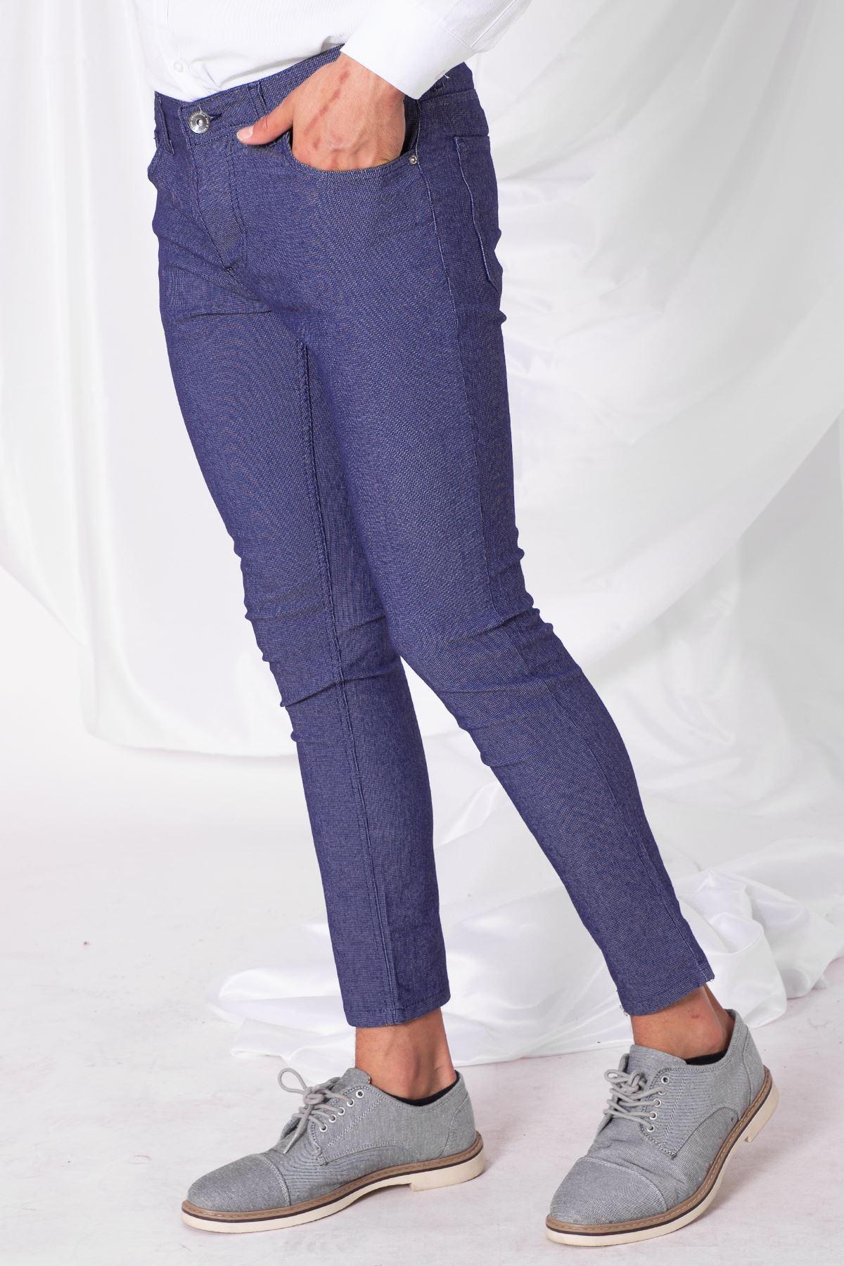 Erkek Likralı Örgü Mavi Pantolon