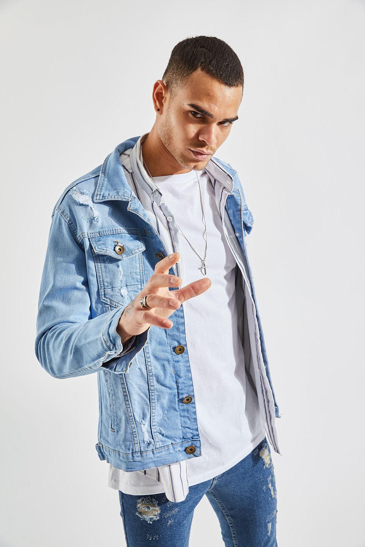Erkek Slim Lazer Yırtıklı Açık Mavi Kot Ceket