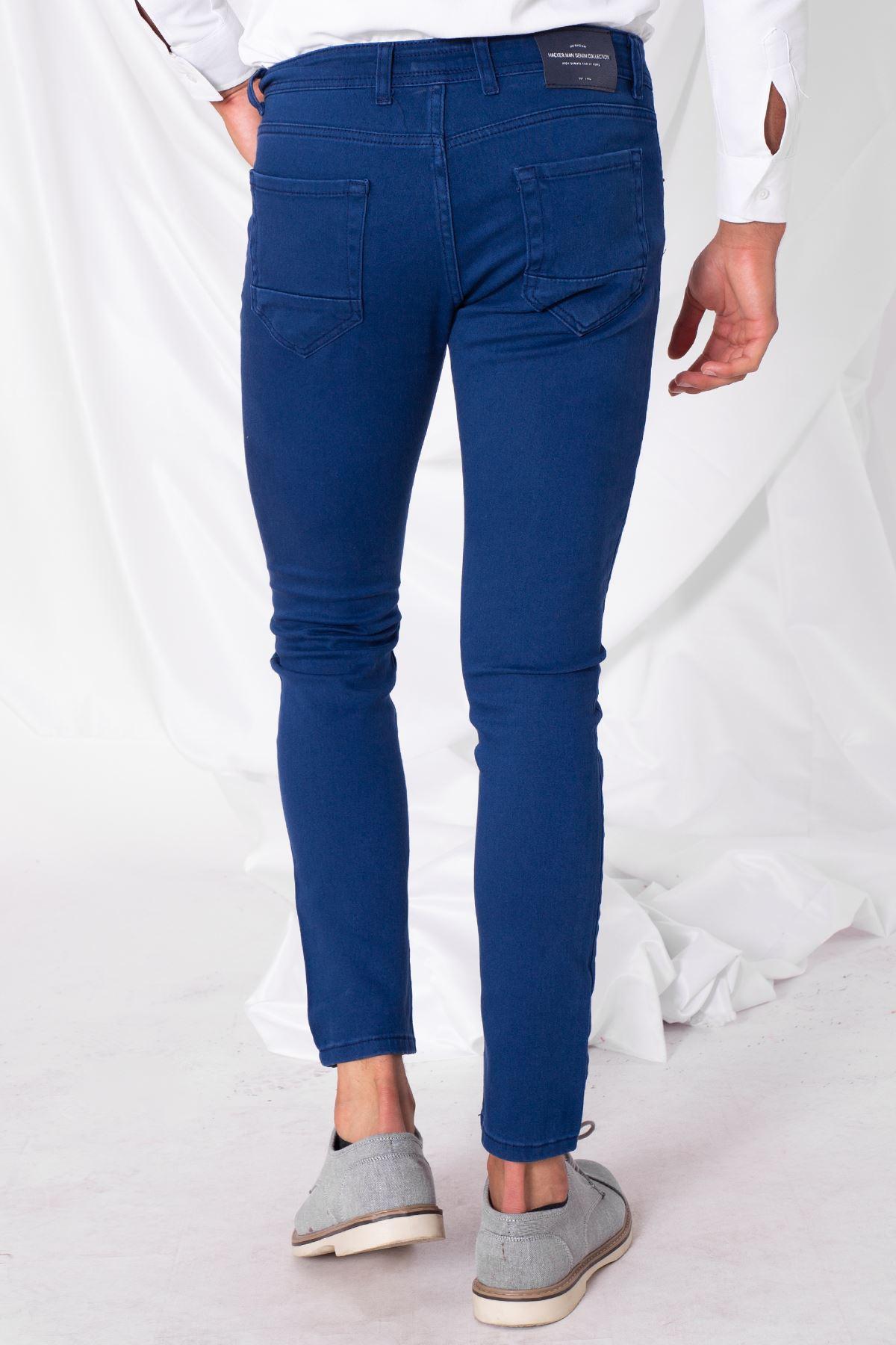 Erkek Likralı Slim Mavi Kot Pantolon