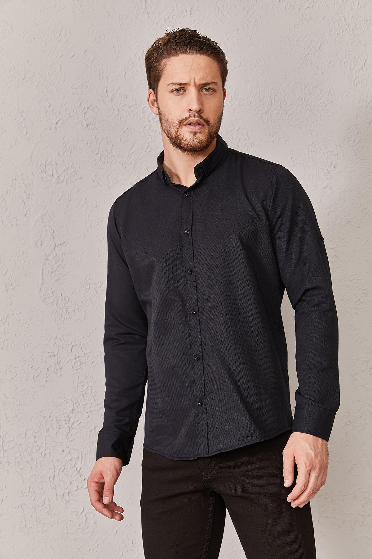 Erkek Düz Siyah Gömlek
