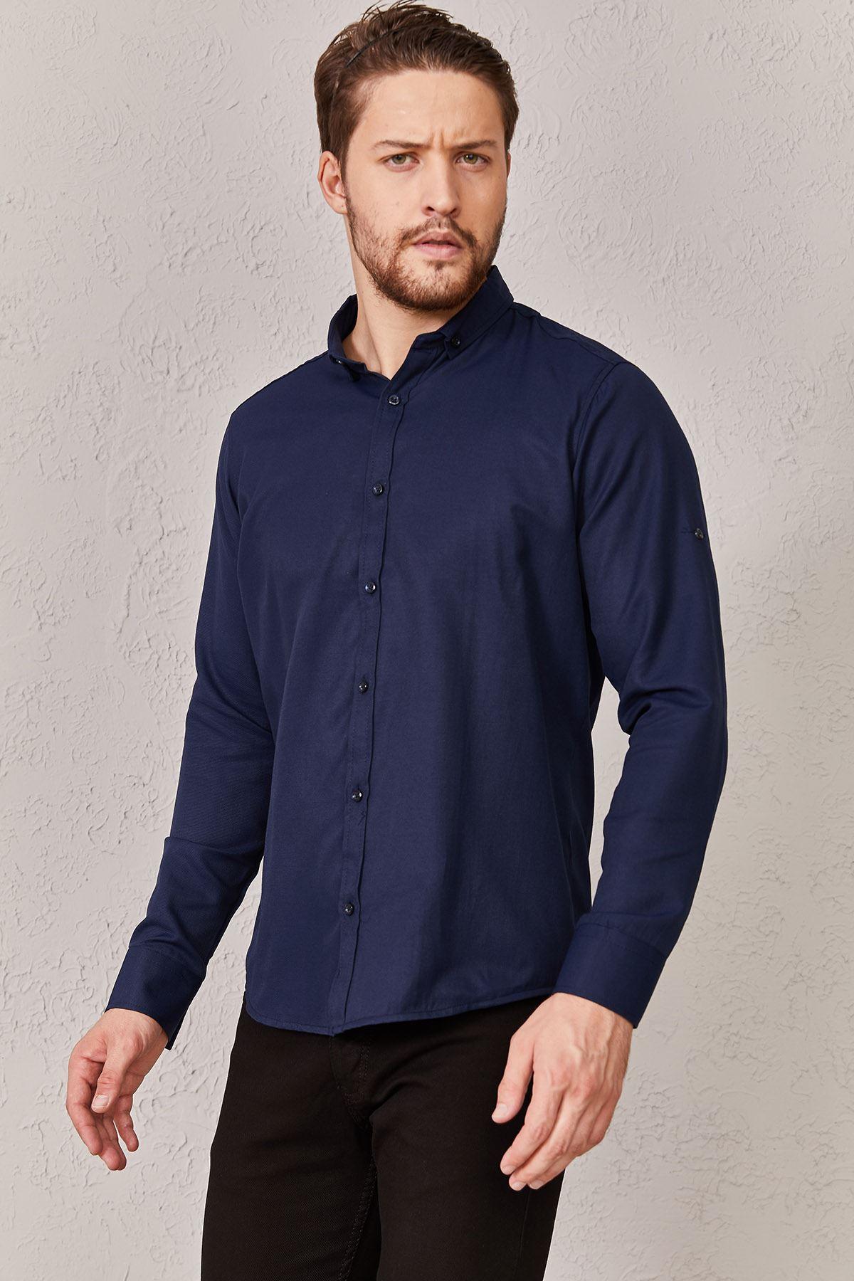 Erkek Düz Lacivert Gömlek