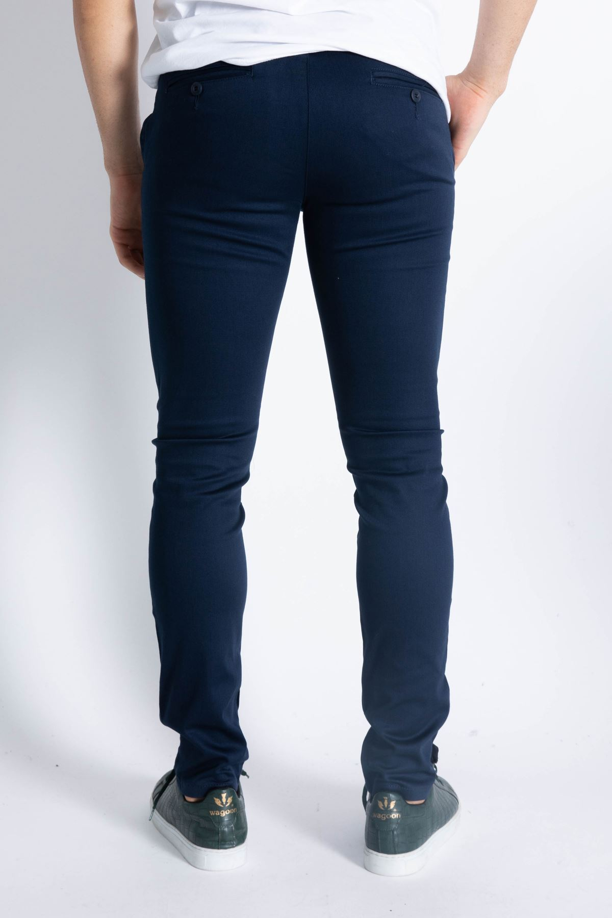 Erkek Slim Yan Cepli Enzim Yıkamalı Armüllü Lacivert Pantolon