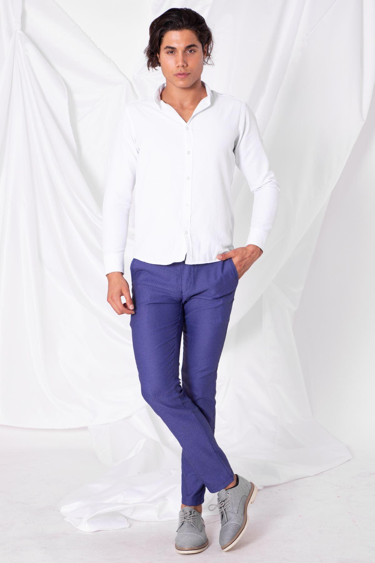 Erkek Slim Yan Cepli Açık Mavi Örgü Pantolon