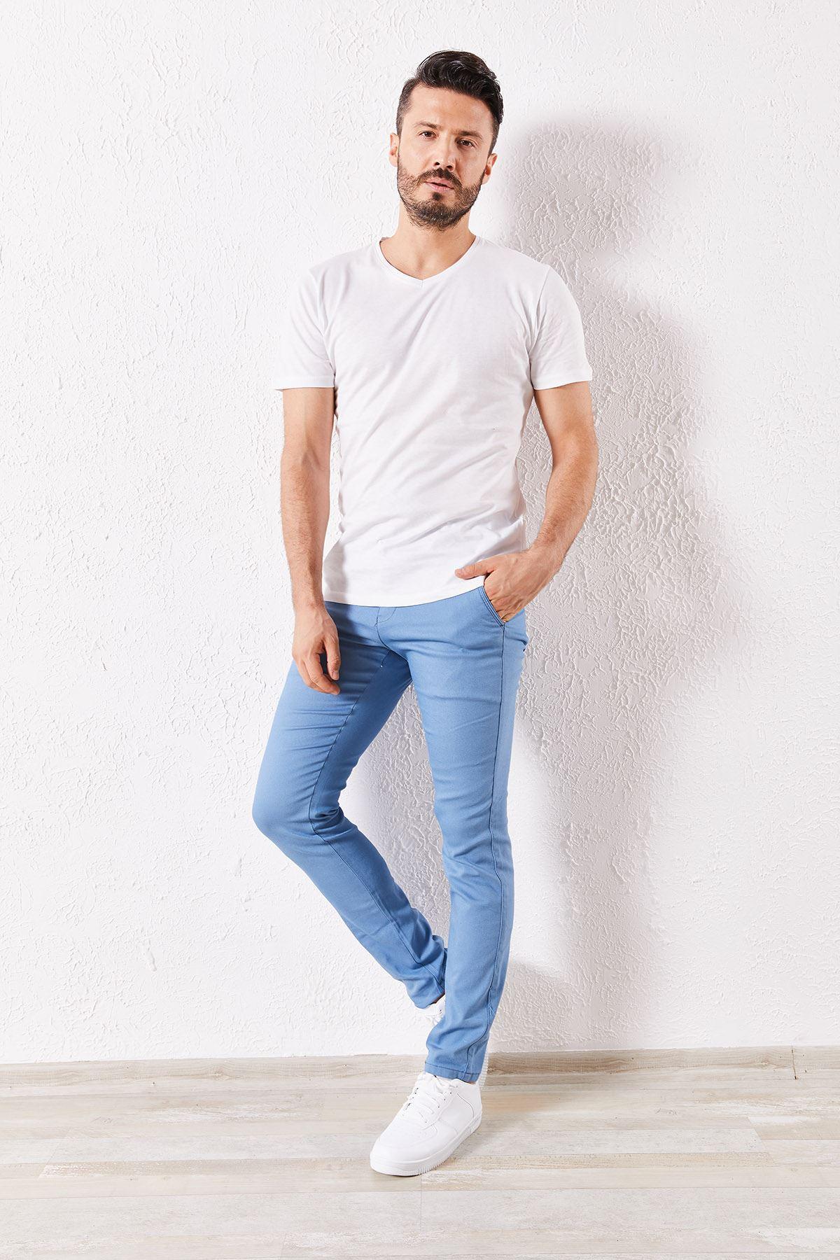 Erkek Slim Yan Cepli Mavi Örgü Pantolon