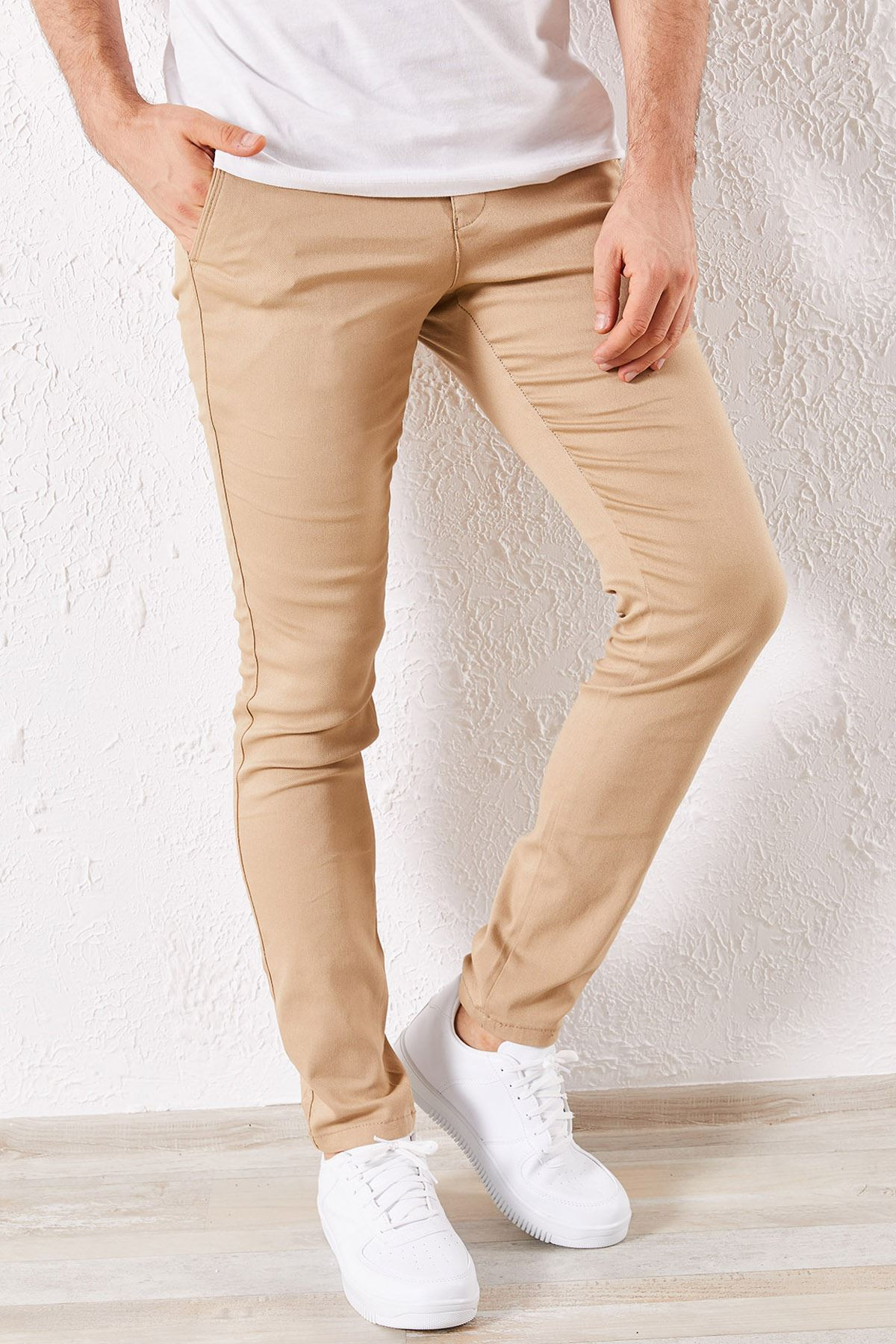 Erkek Slim Yan Cepli Hardal Örgü Pantolon