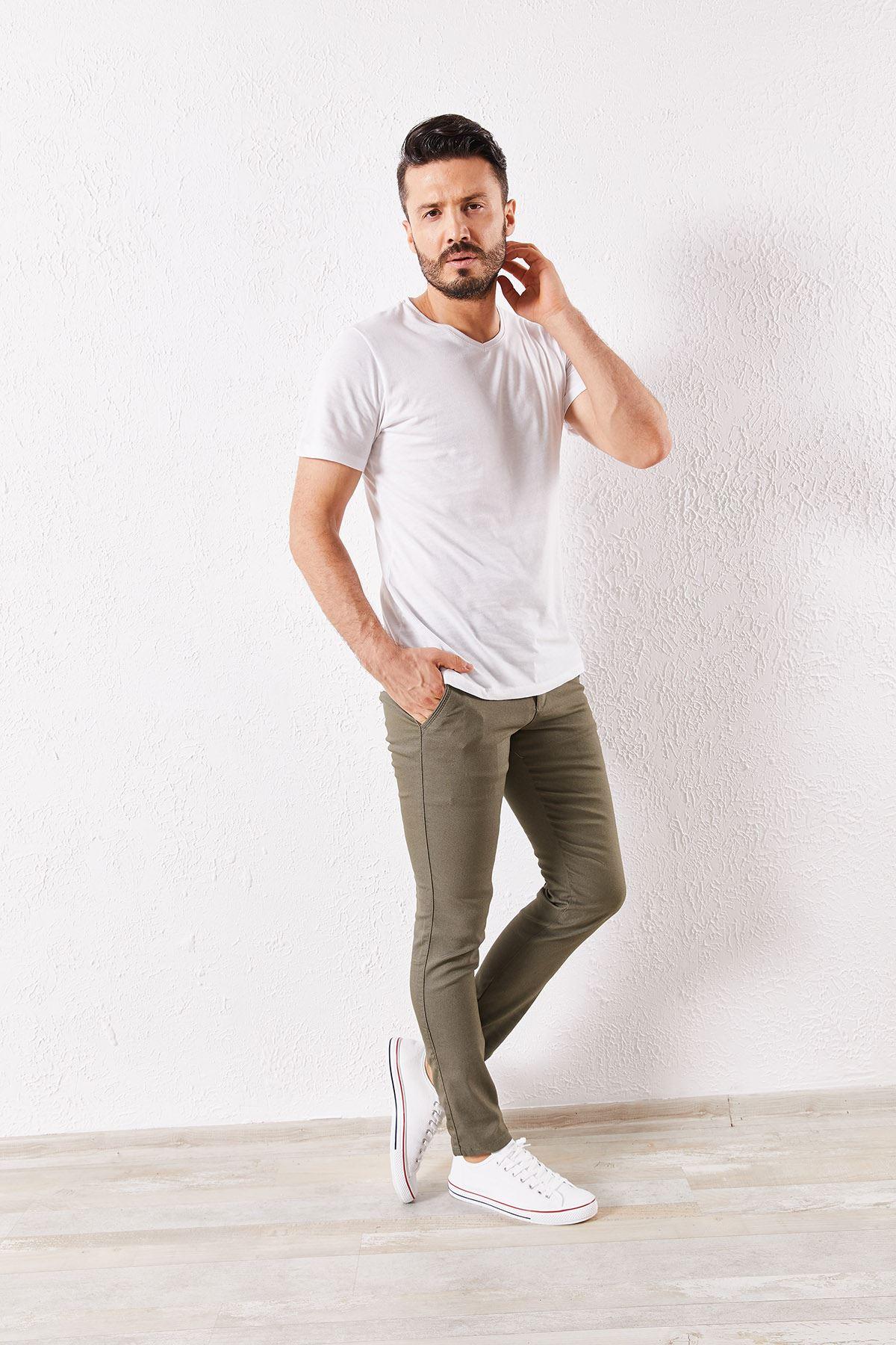 Erkek Slim Yan Cepli Haki Örgü Pantolon