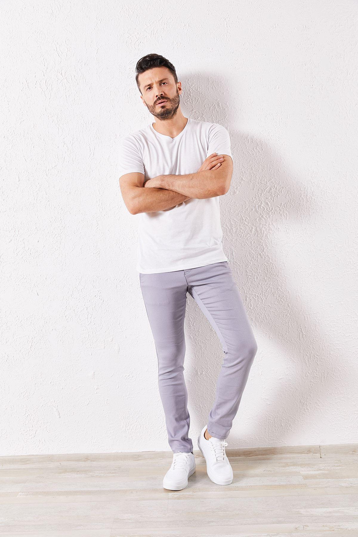 Erkek Slim Yan Cepli Gri Örgü Pantolon