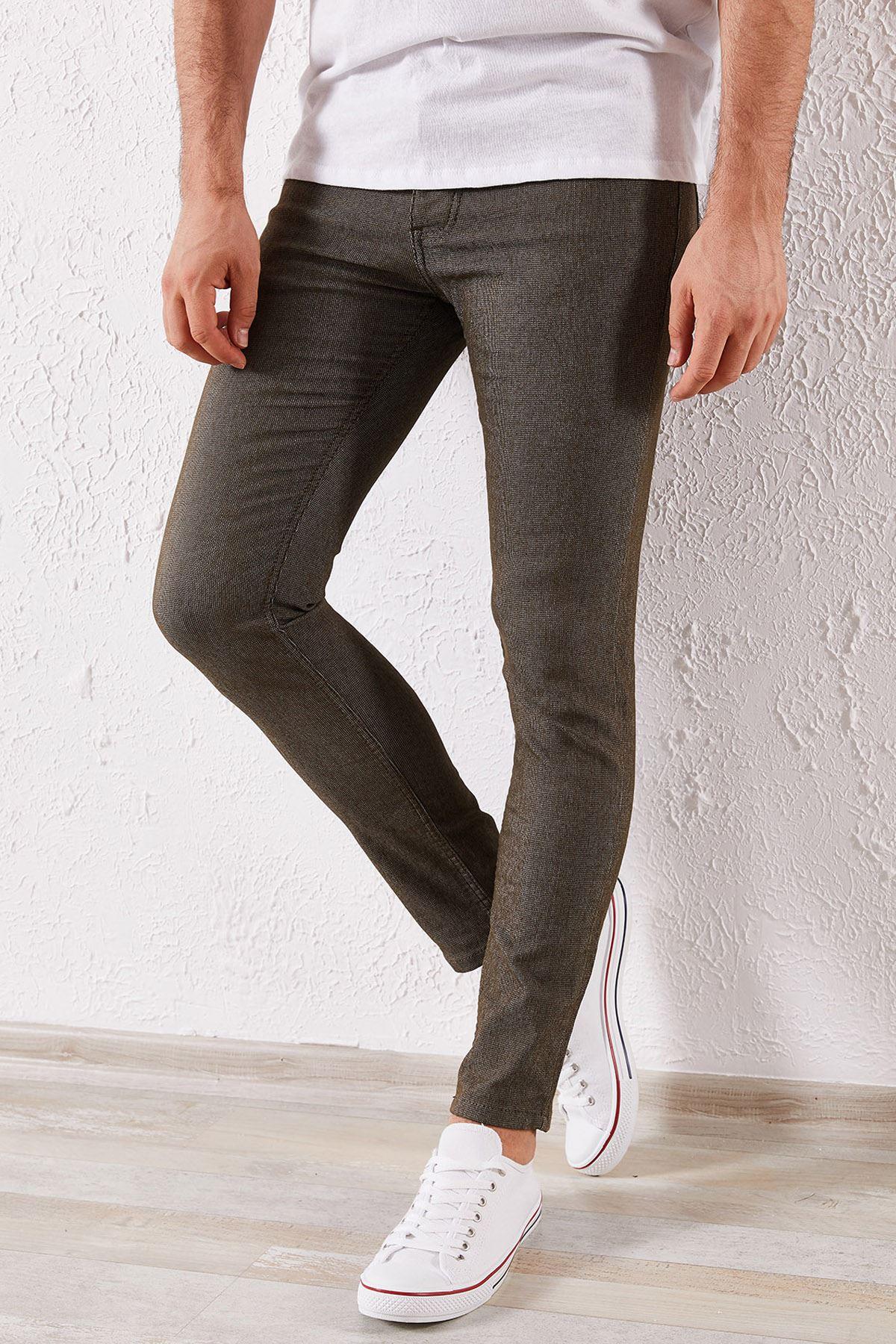 Erkek Slim Örgü Haki Pantolon