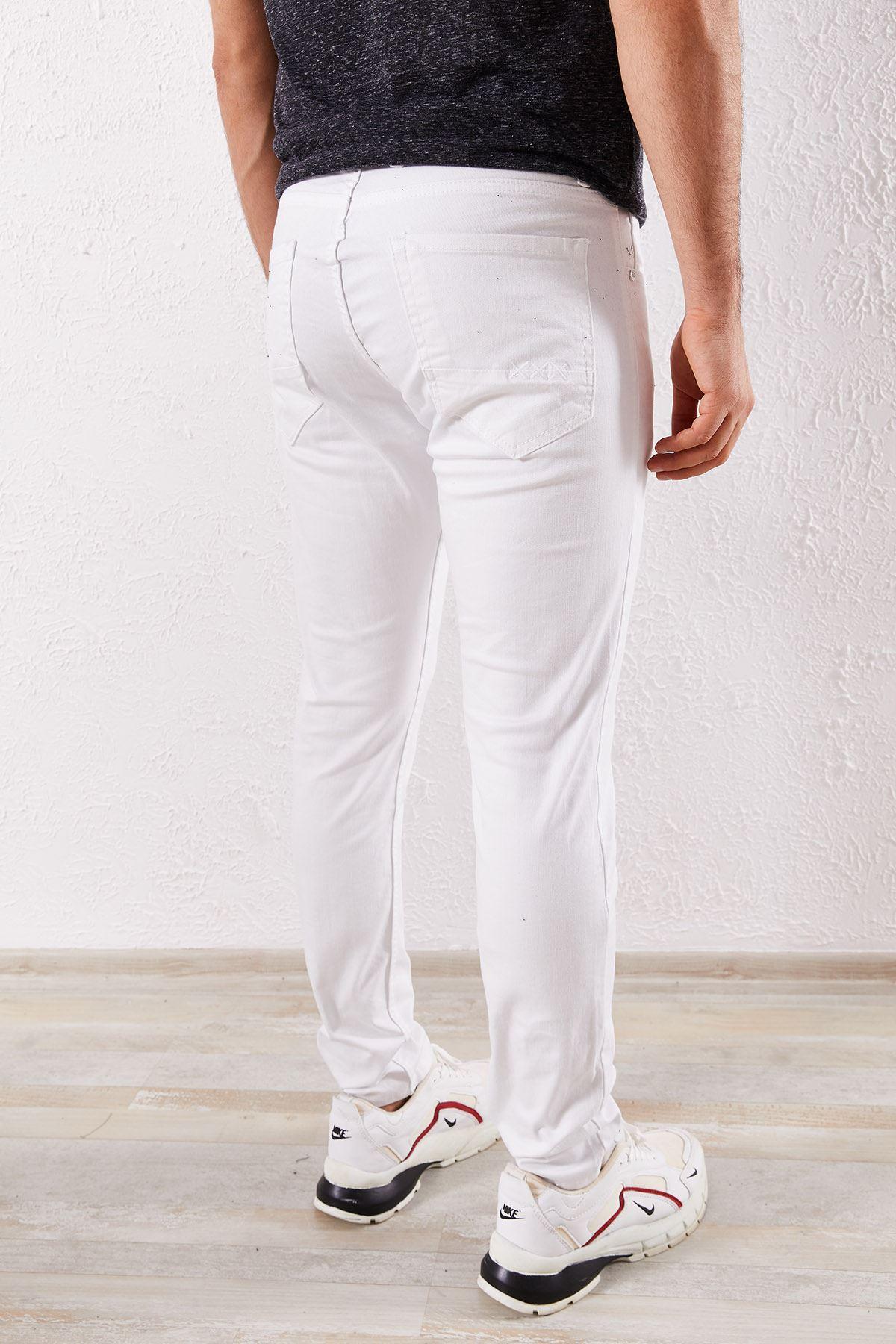 Erkek Slim Enzim Yıkamalı Beyaz Kot Pantolon