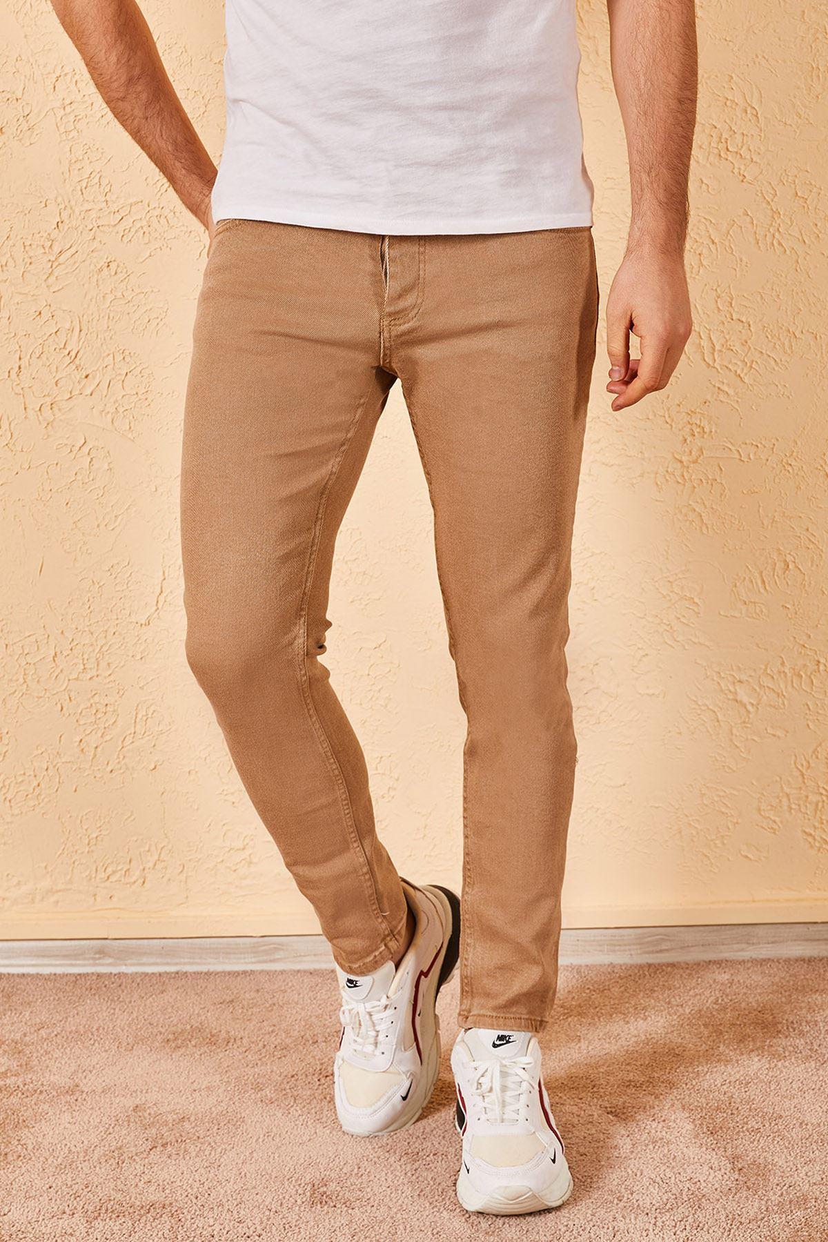 Erkek Slim Likralı Kahverengi Kot Pantolon