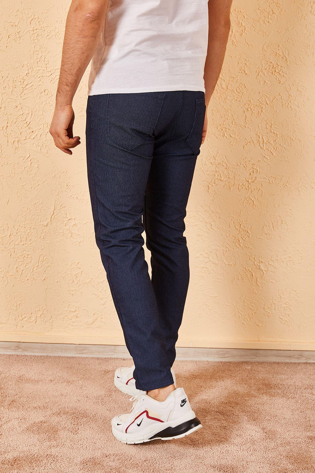 Erkek Likralı Örgü Lacivert Kot Pantolon