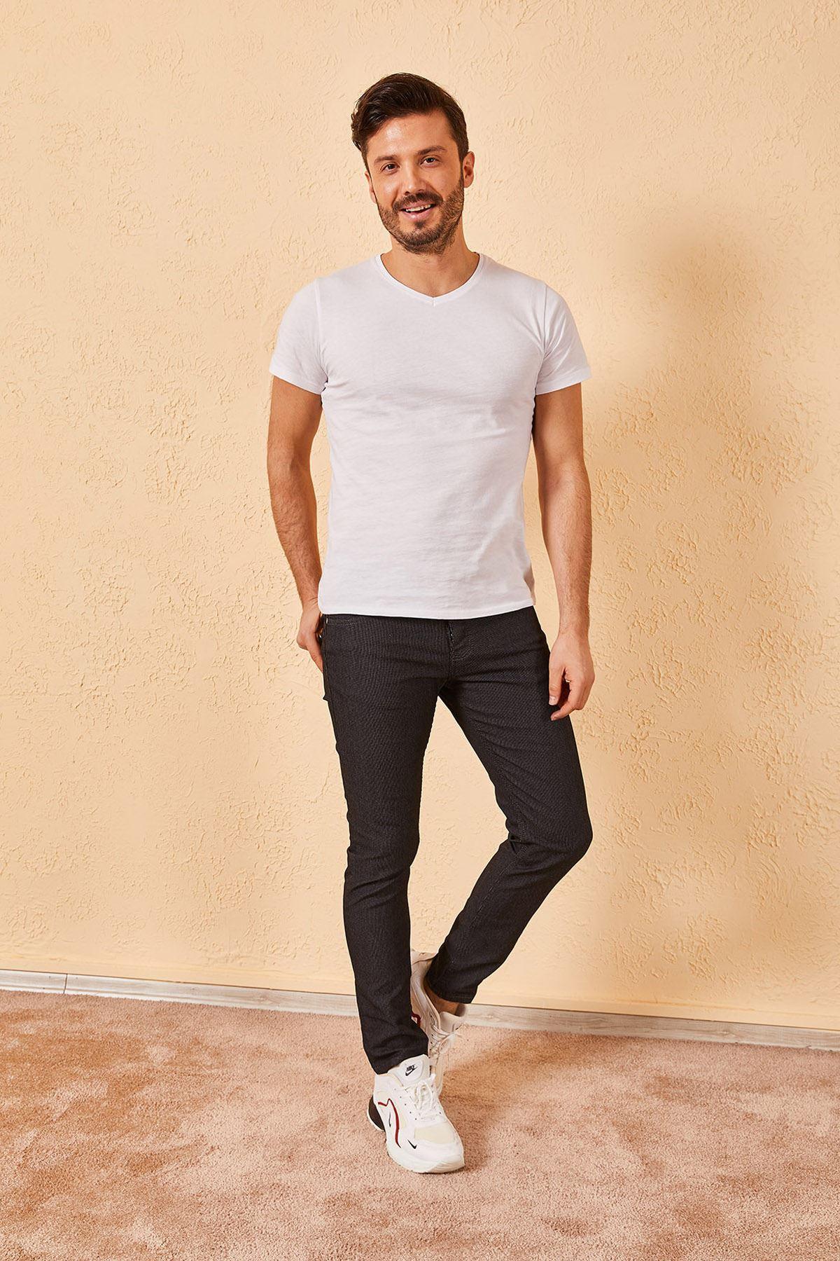 Erkek Likralı Örgü Füme Kot Pantolon