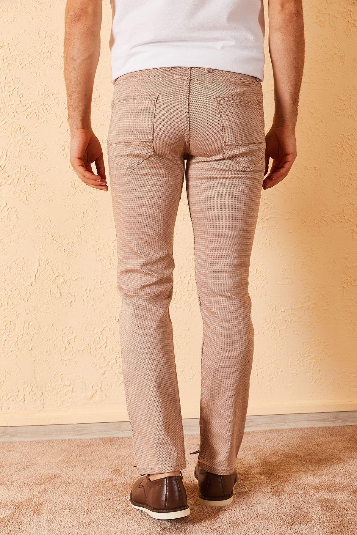 Erkek Baskılı Likralı Pamuk Saten Pantolon