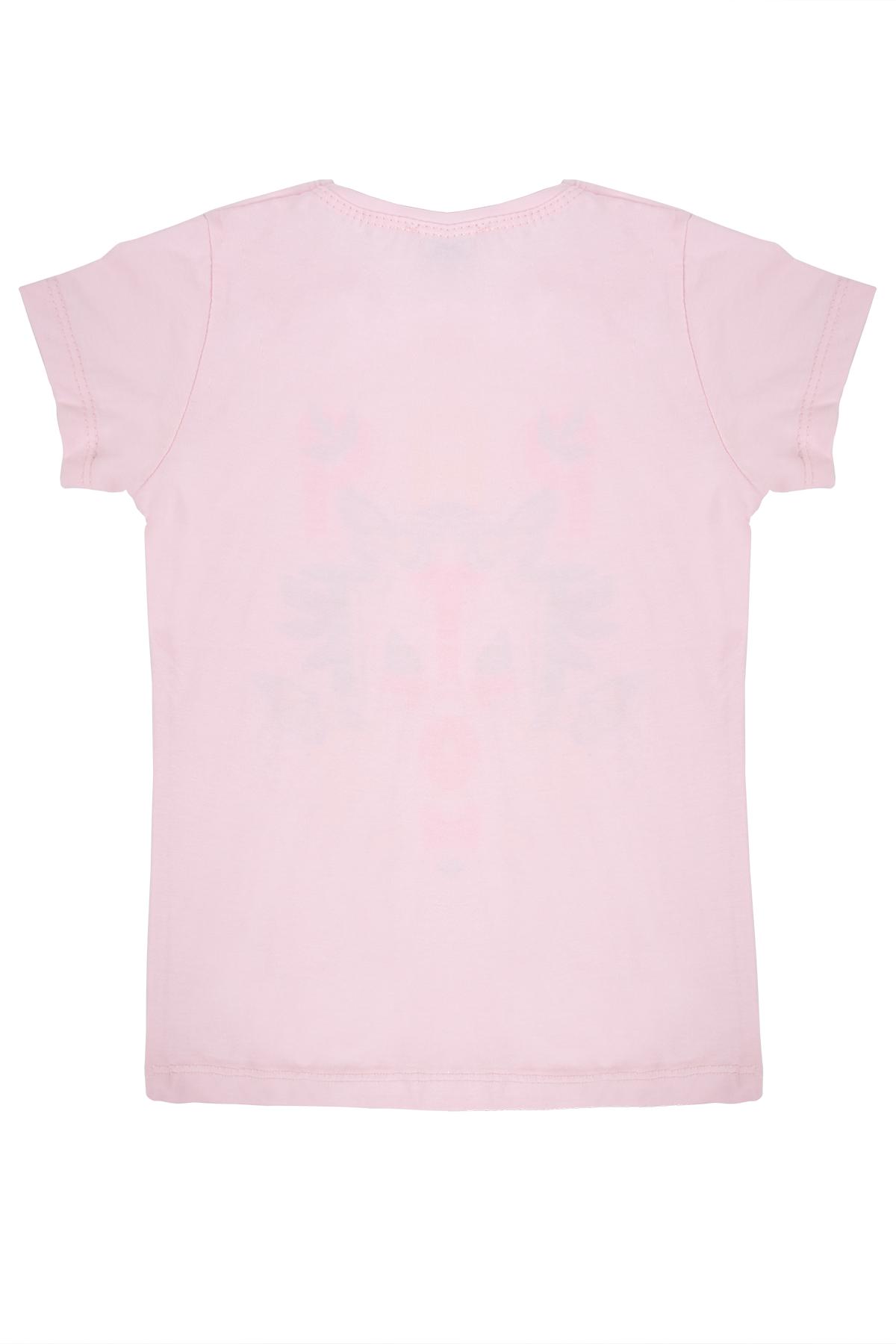 Kız Çocuk Kelebek Baskılı Pembe Tişört