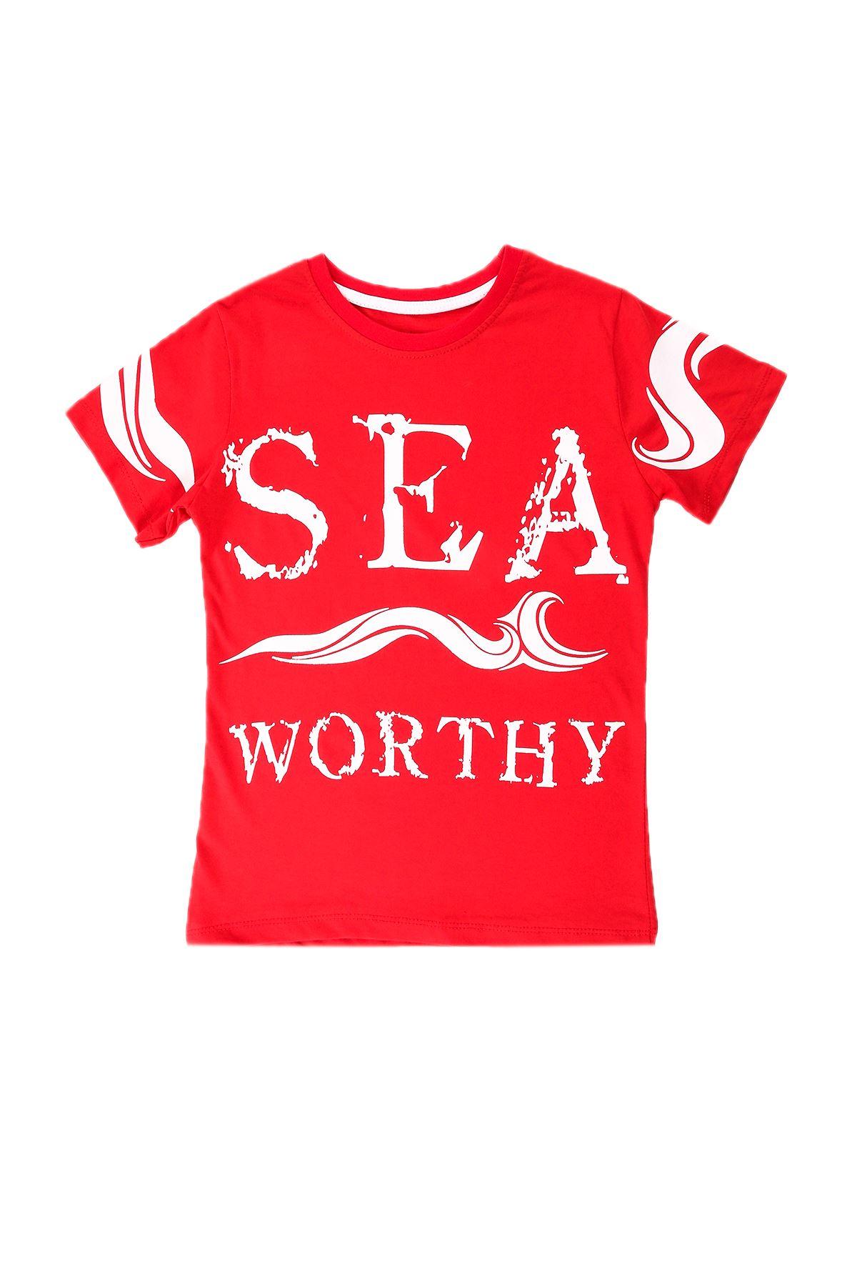 Erkek Çocuk Sea Baskılı Kırmızı Tişört