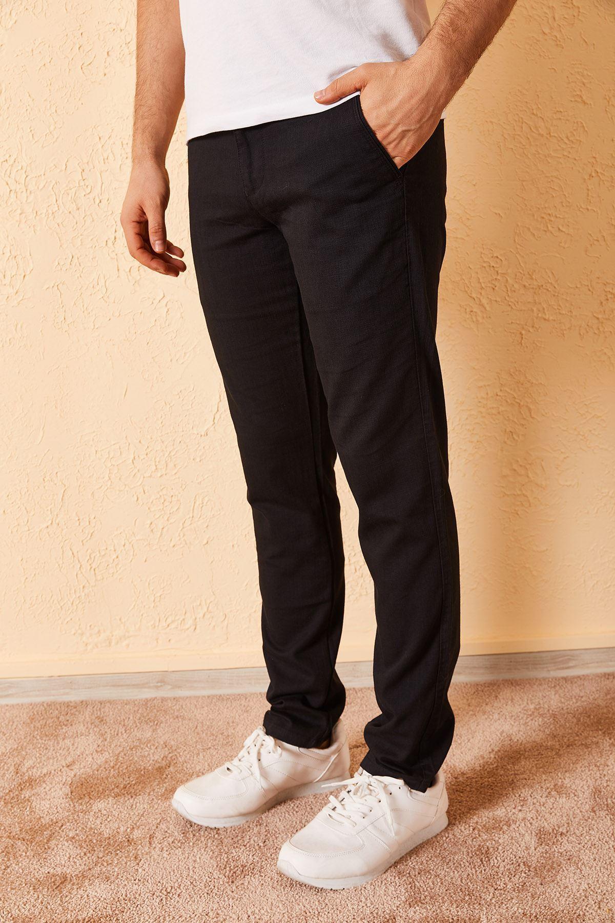 Slim Yan Cepli Örgü Erkek Kot Pantolon
