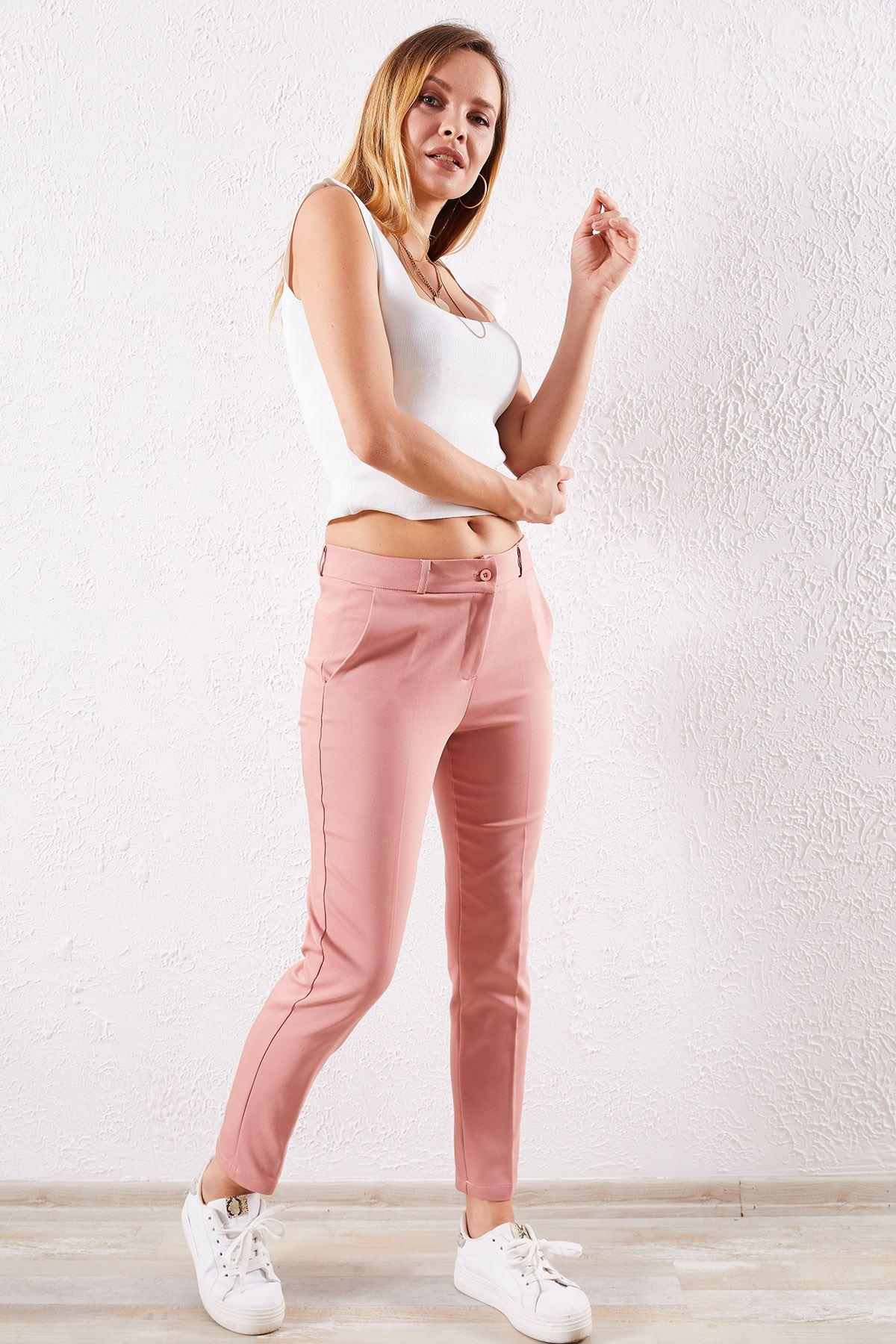 Kadın Kalem Pudra Pantolon