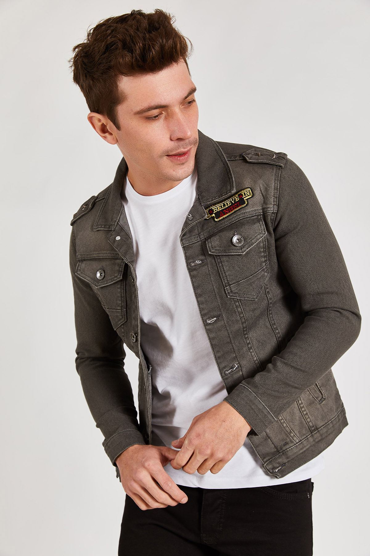 Diagonel Kot Erkek Ceket