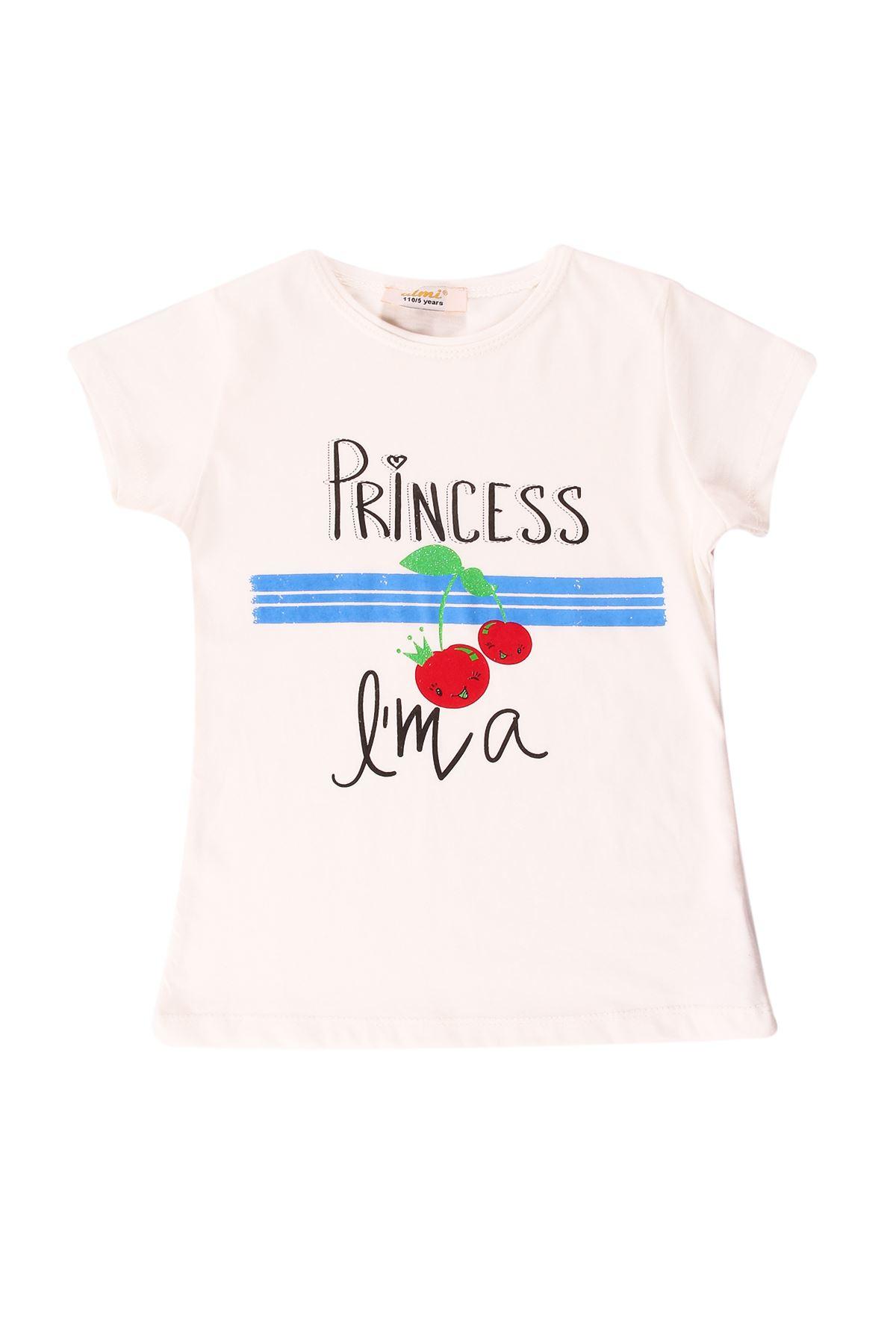 Kız Çocuk Prinses Baskılı Krem Tişört