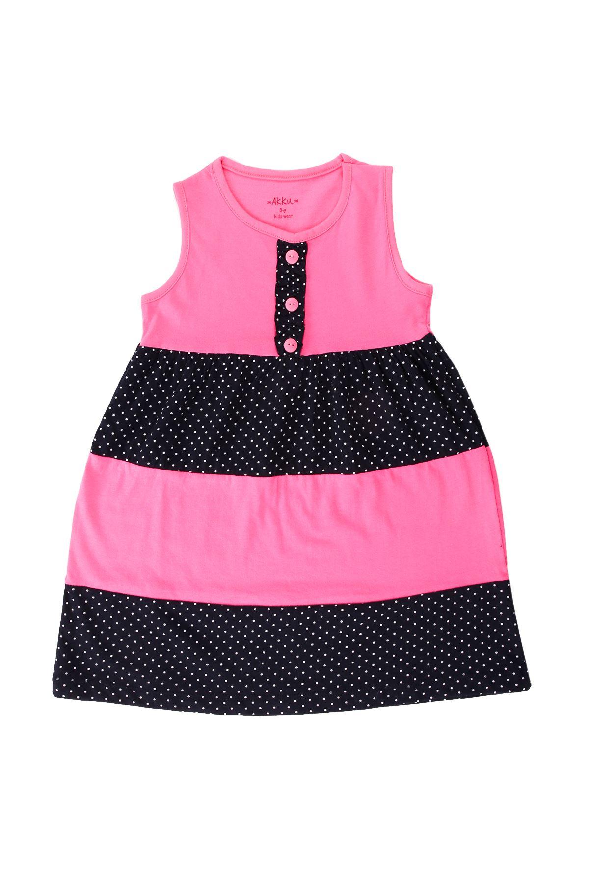 Kız Çocuk Parçalı Düğmeli Lacivert Elbise