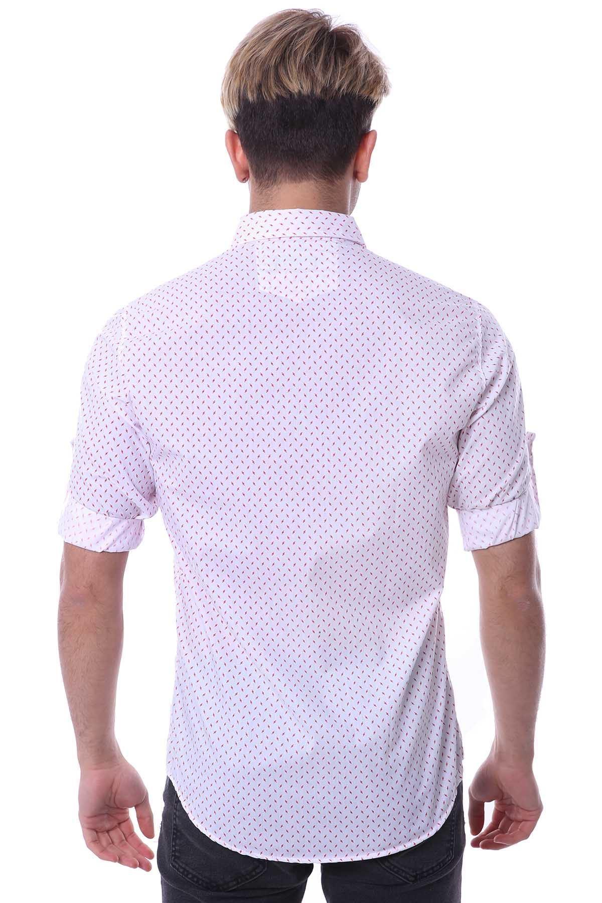 Uzun Kollu Yıldırım Desenli Gömlek