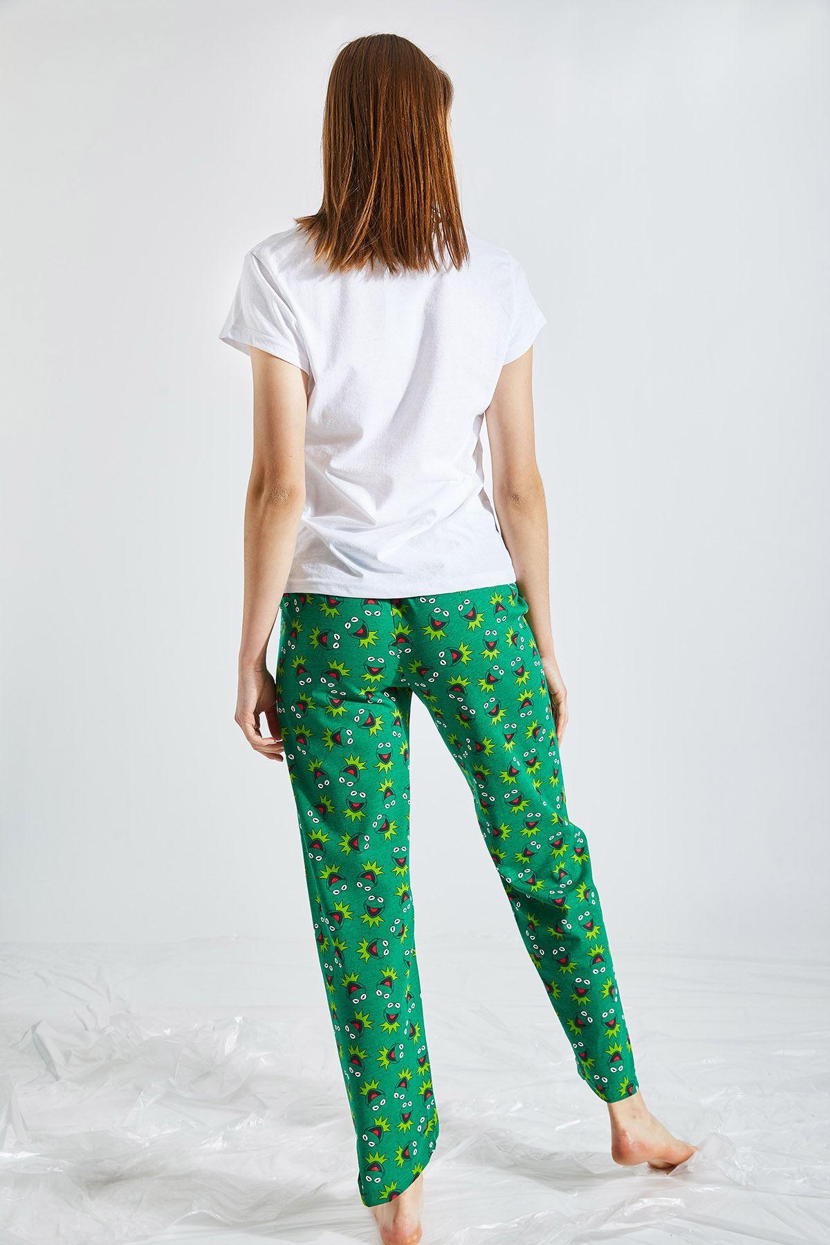 Kadın Baskılı Haki Pijama Takımı