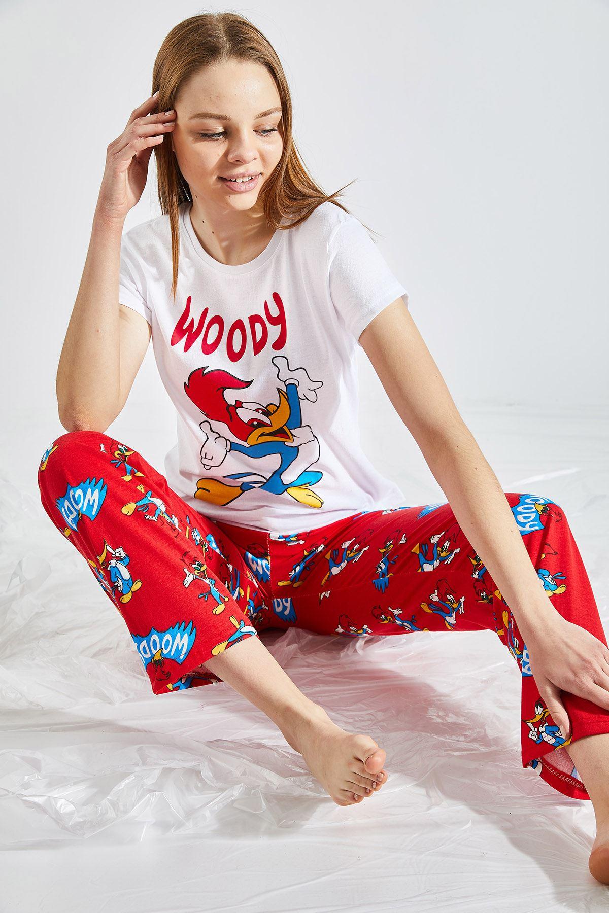 Kadın Baskılı Kırmızı Pijama Takımı