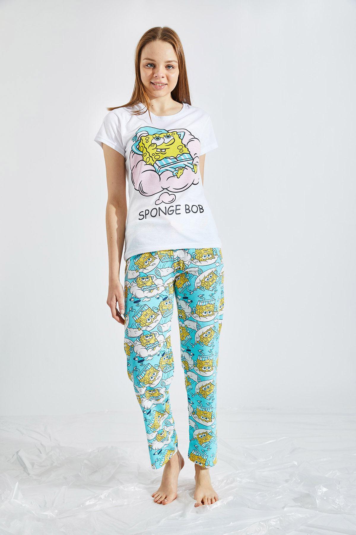 Kadın Baskılı Mavi Pijama Takımı