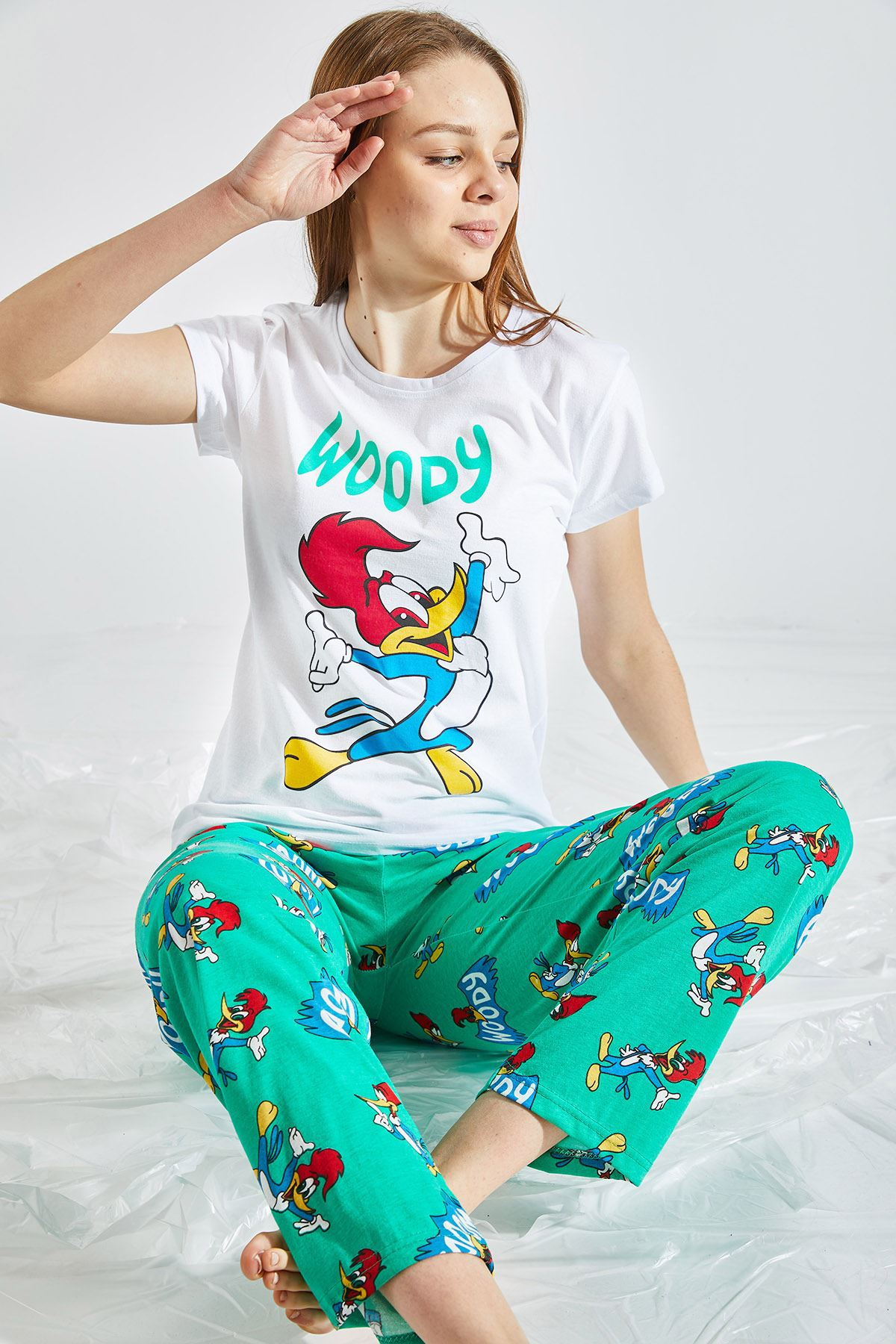 Kadın Baskılı Yeşil Pijama Takımı