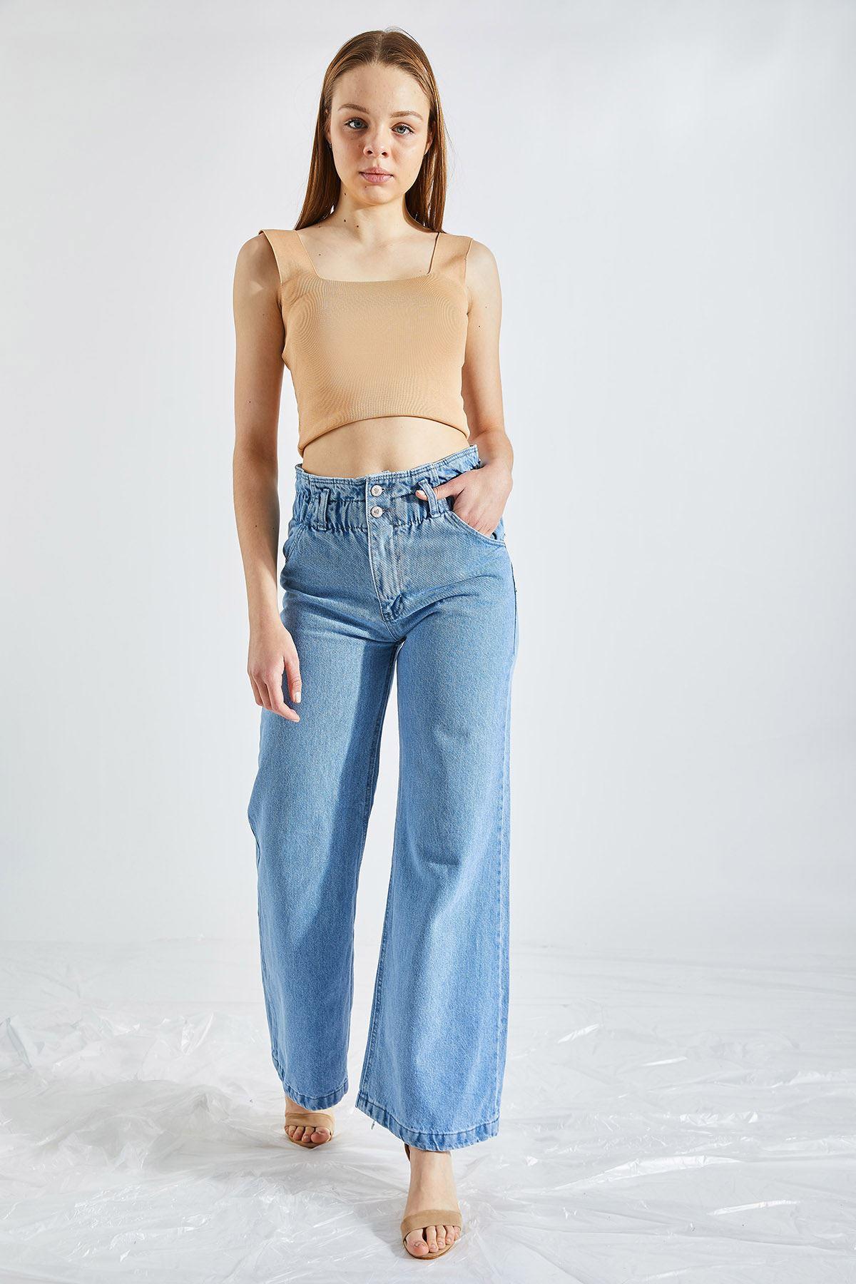 Kadın Bel Lastikli İspanyol Mavi Kot Pantolon