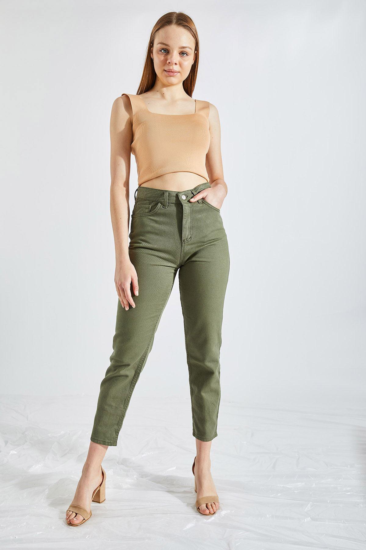Kadın Boyfriend Haki Kot Pantolon