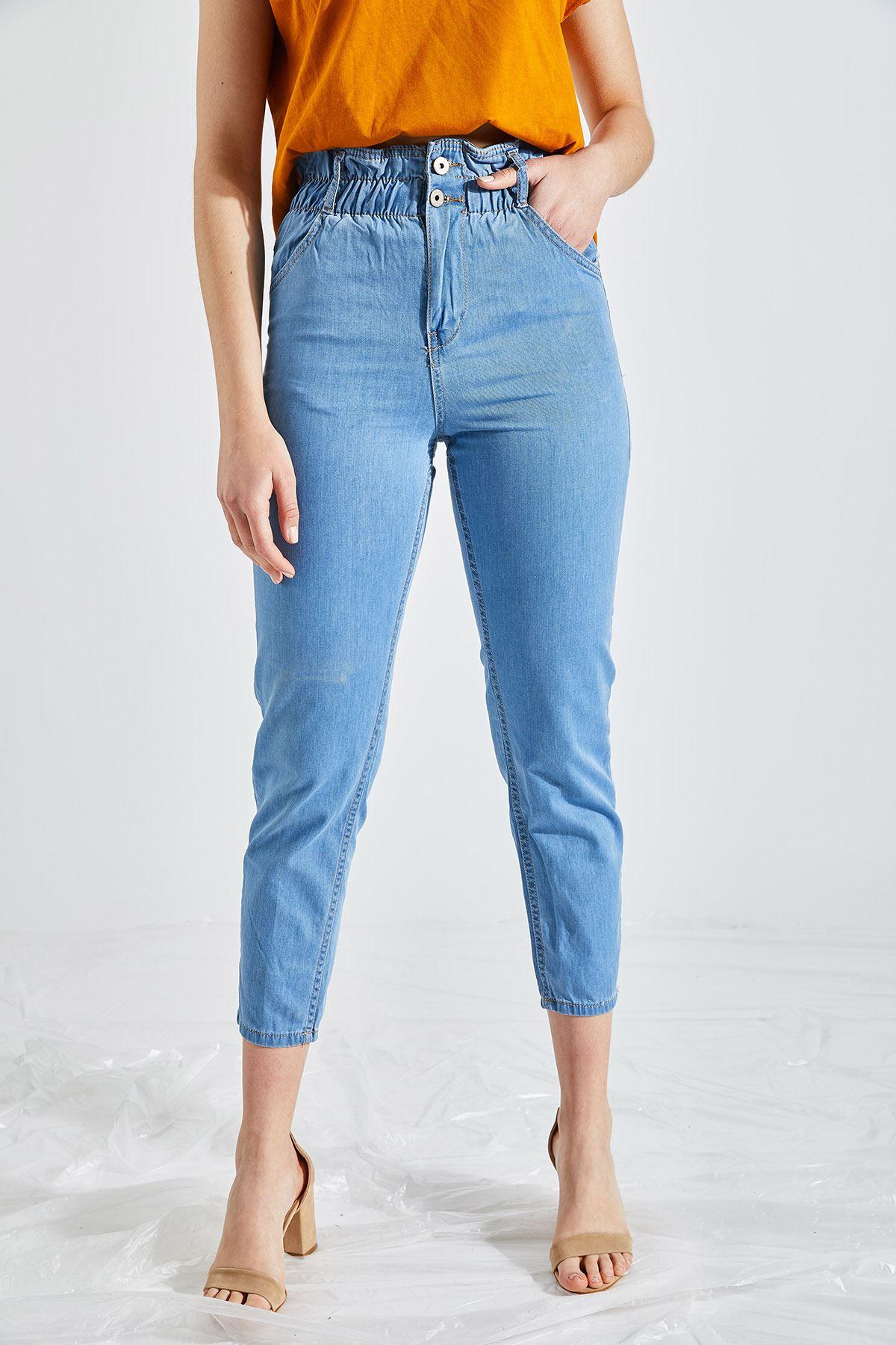 Kadın Likralı Bel Lastikli Açık Mavi Kot Pantolon