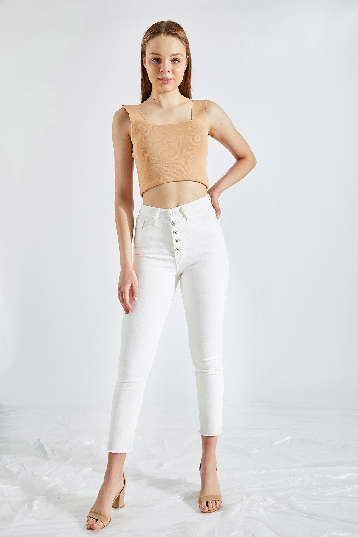 Kadın Paça Püsküllü Beyaz Kot Pantolon
