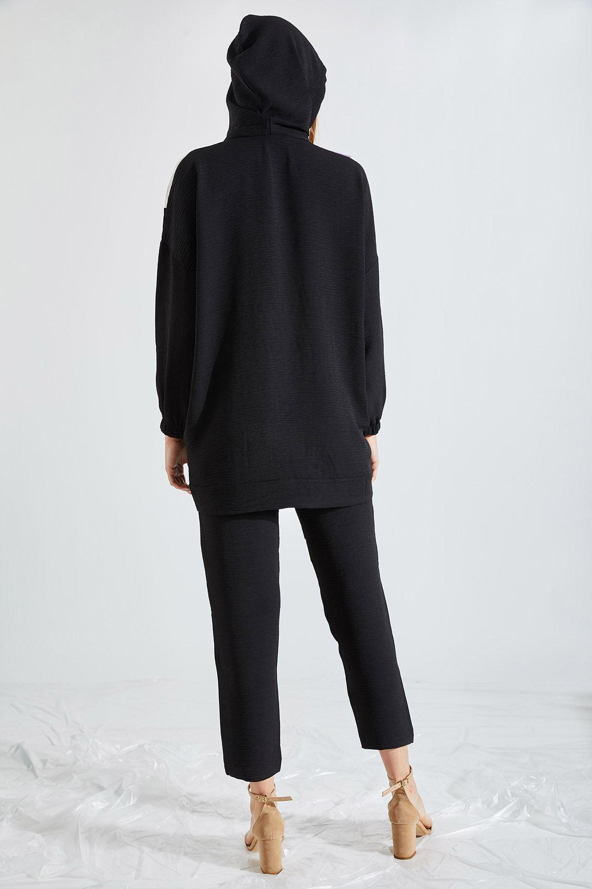 Kadın Kapüşonlu Üç Renk Siyah Takım