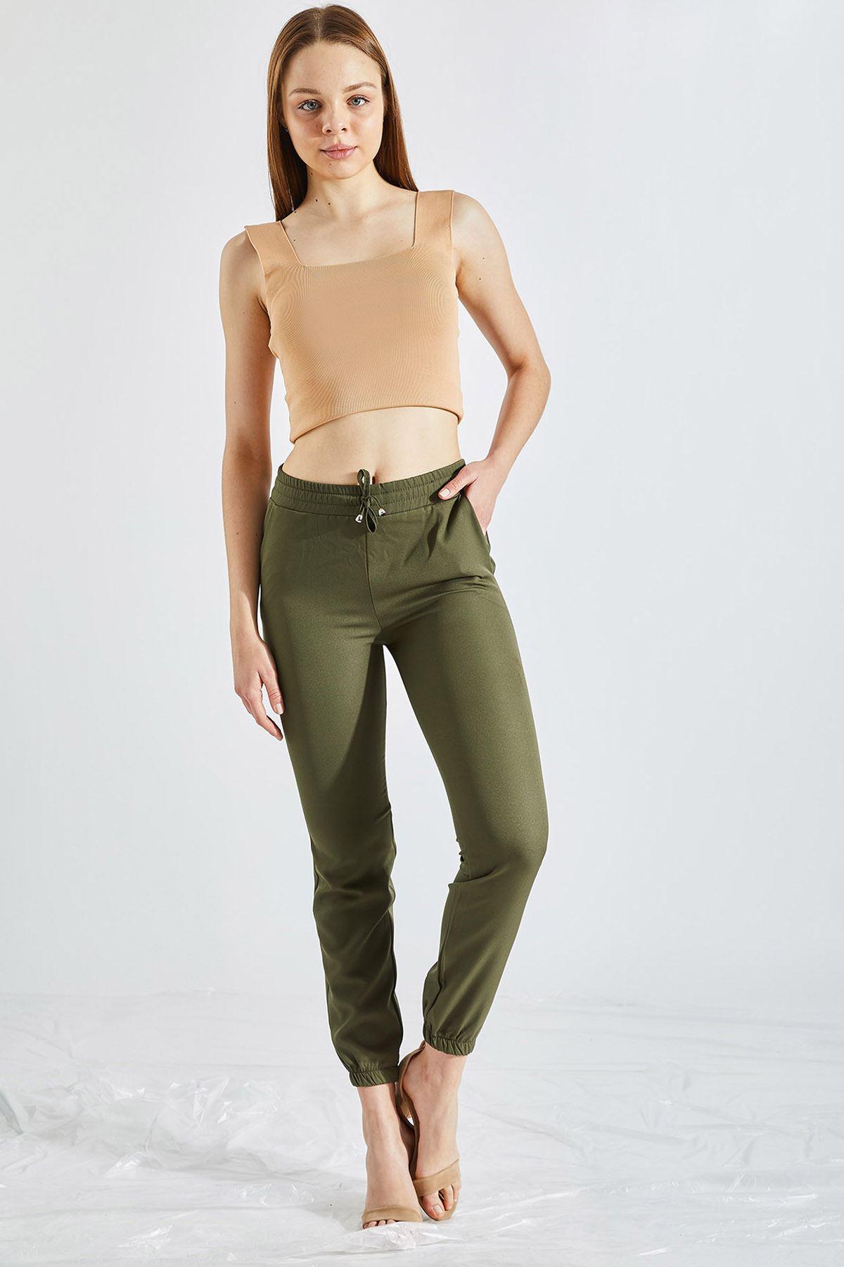 Kadın Bel Ve Paça Lastikli Haki Kumaş Pantolon