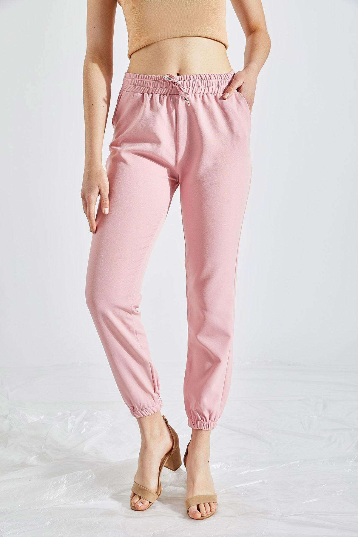 Kadın Bel Ve Paça Lastikli Pembe Kumaş Pantolon